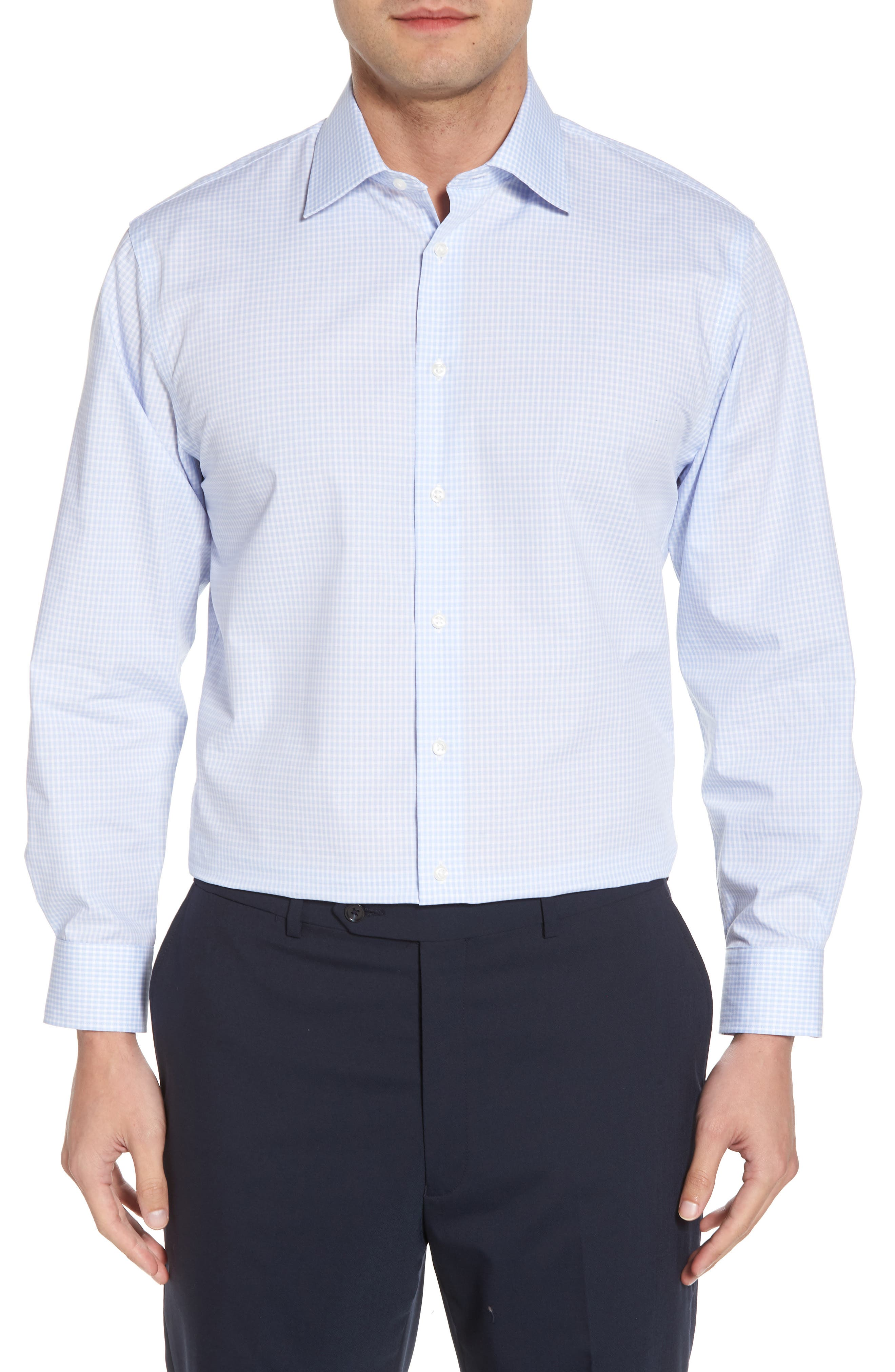 Traditional Fit Non-Iron Check Dress Shirt,                         Main,                         color, BLUE XENON