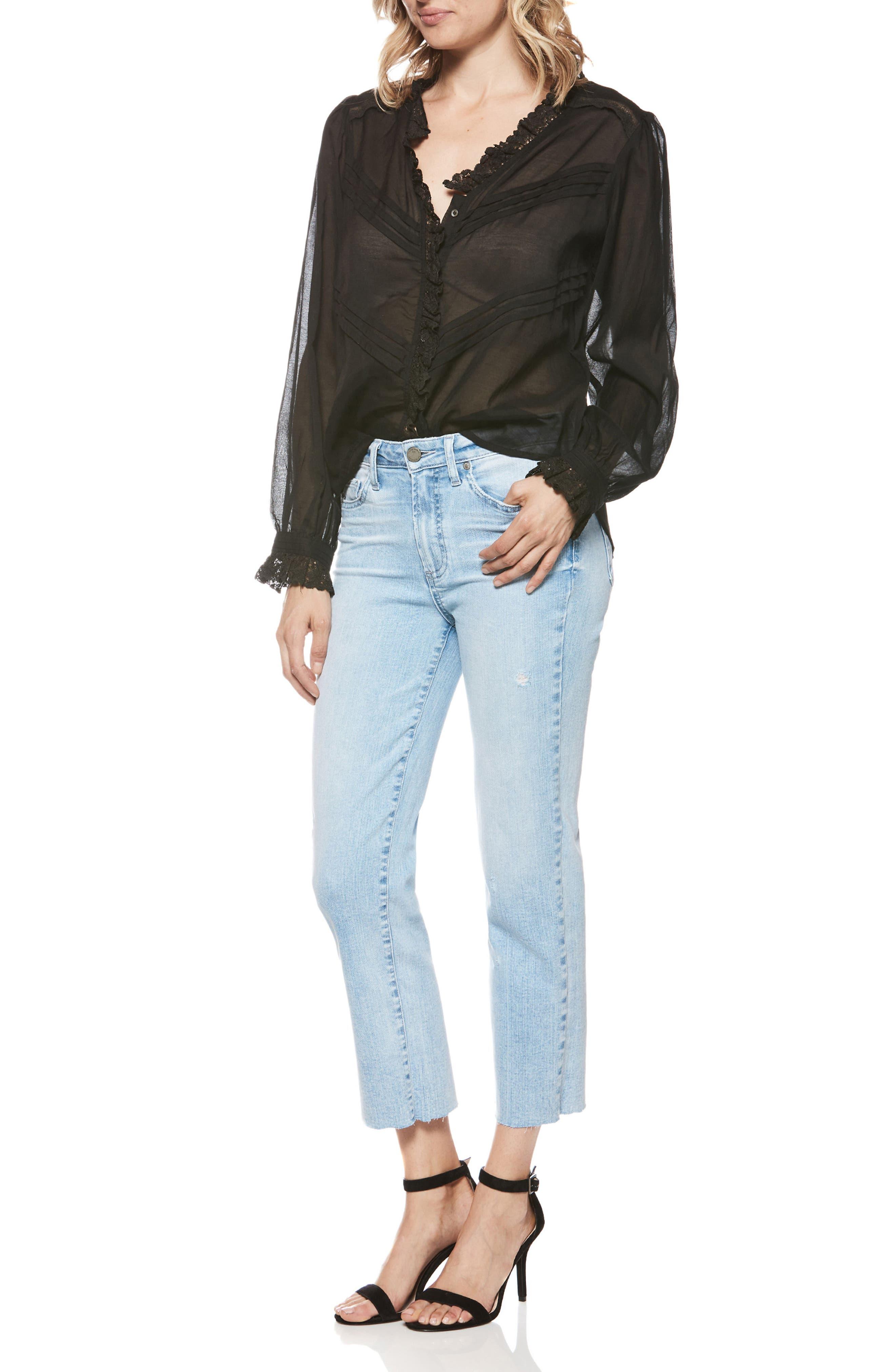 Hoxton High Waist Crop Straight Leg Jeans,                             Alternate thumbnail 3, color,                             400