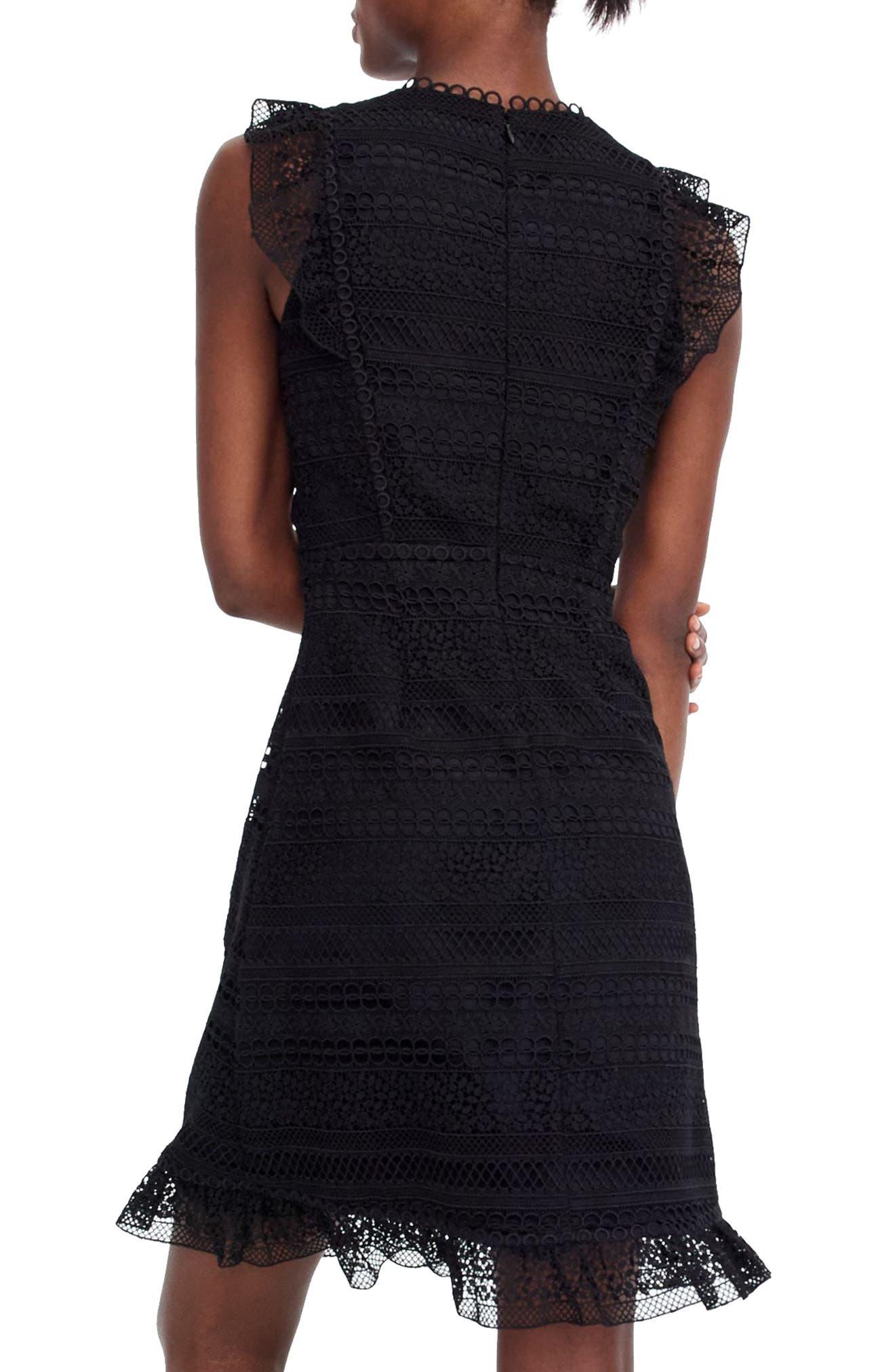 Cap Sleeve Ruffle Lace Dress,                             Alternate thumbnail 4, color,