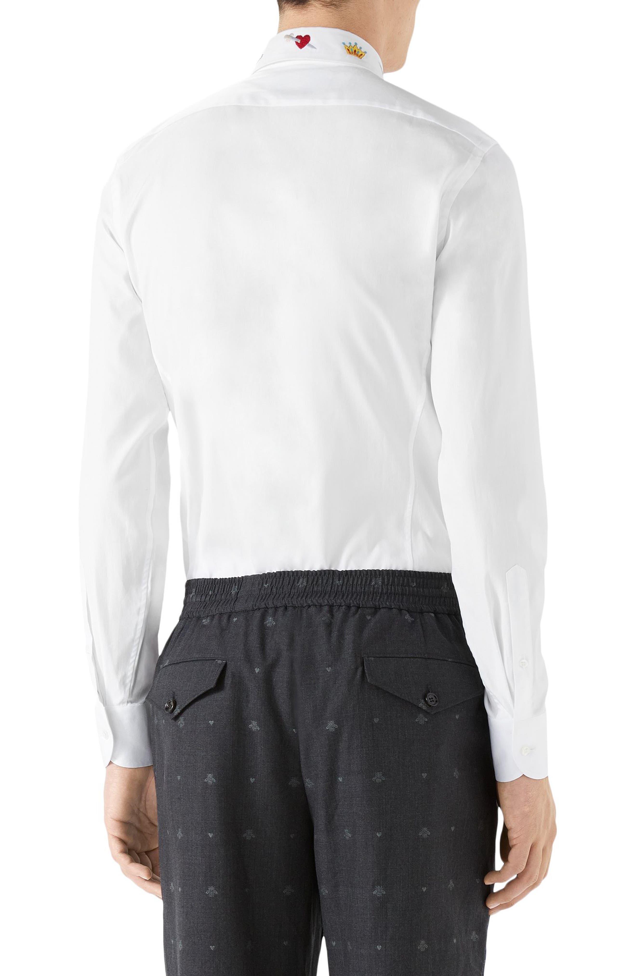 Embroidered Collar Emblem Sport Shirt,                             Alternate thumbnail 2, color,                             WHITE