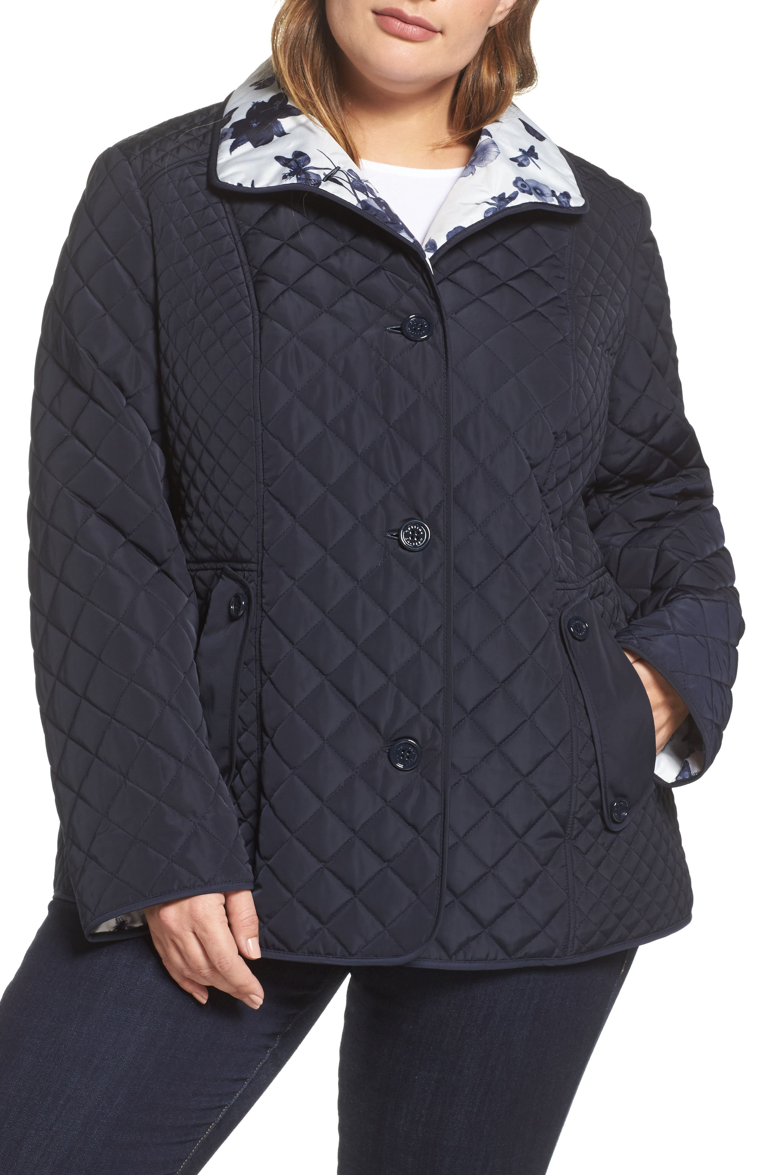 Print Collar Quilted Jacket,                             Alternate thumbnail 4, color,                             410