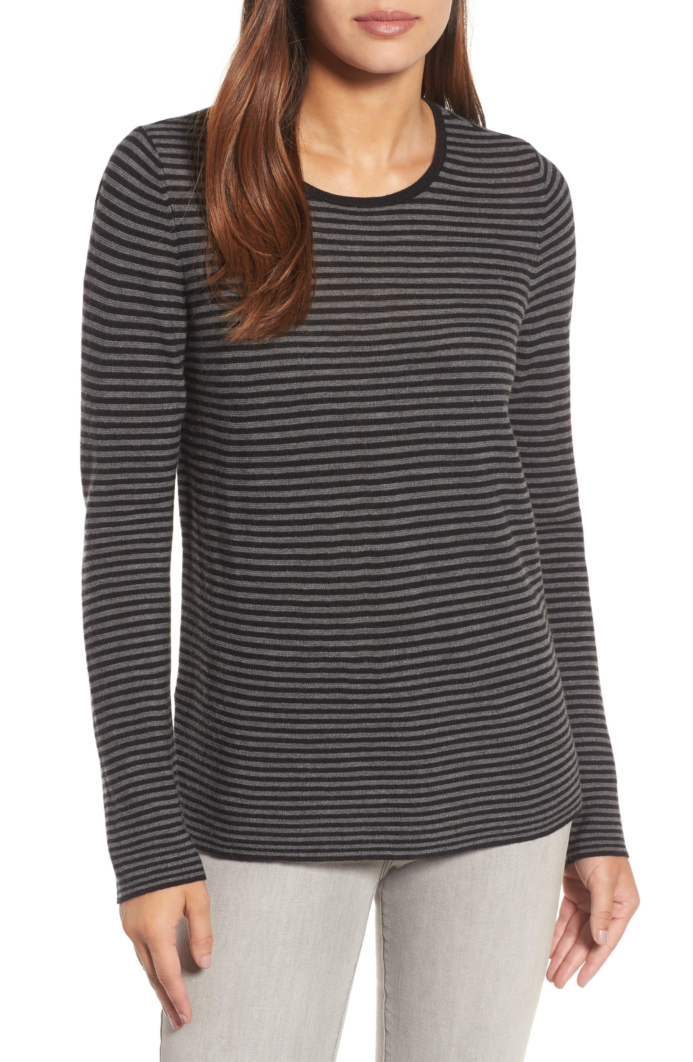 Stripe Merino Wool Sweater,                         Main,                         color, 028