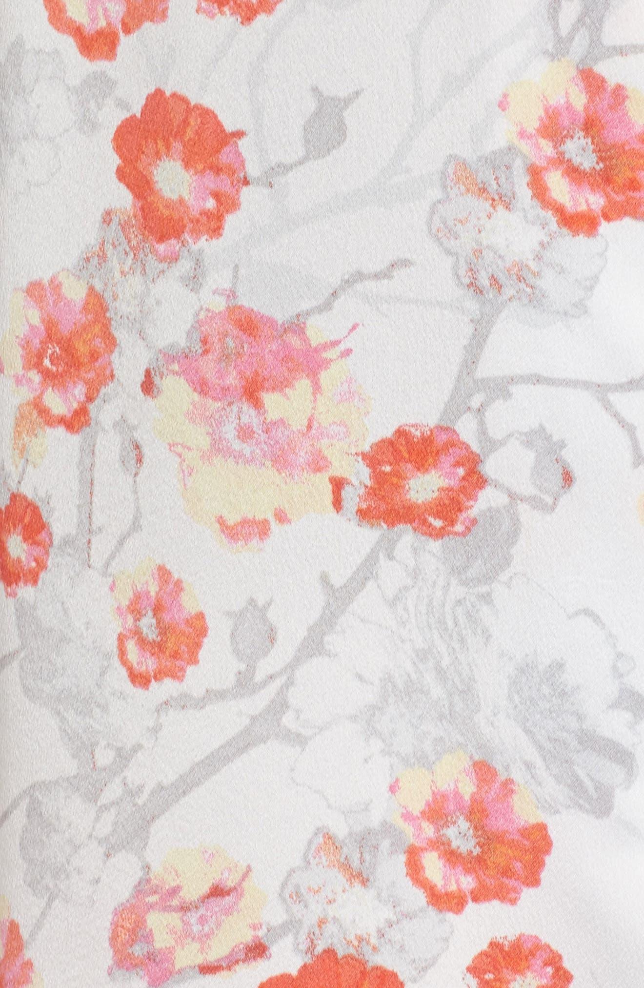 Blossom Print Satin Pajamas,                             Alternate thumbnail 5, color,                             905