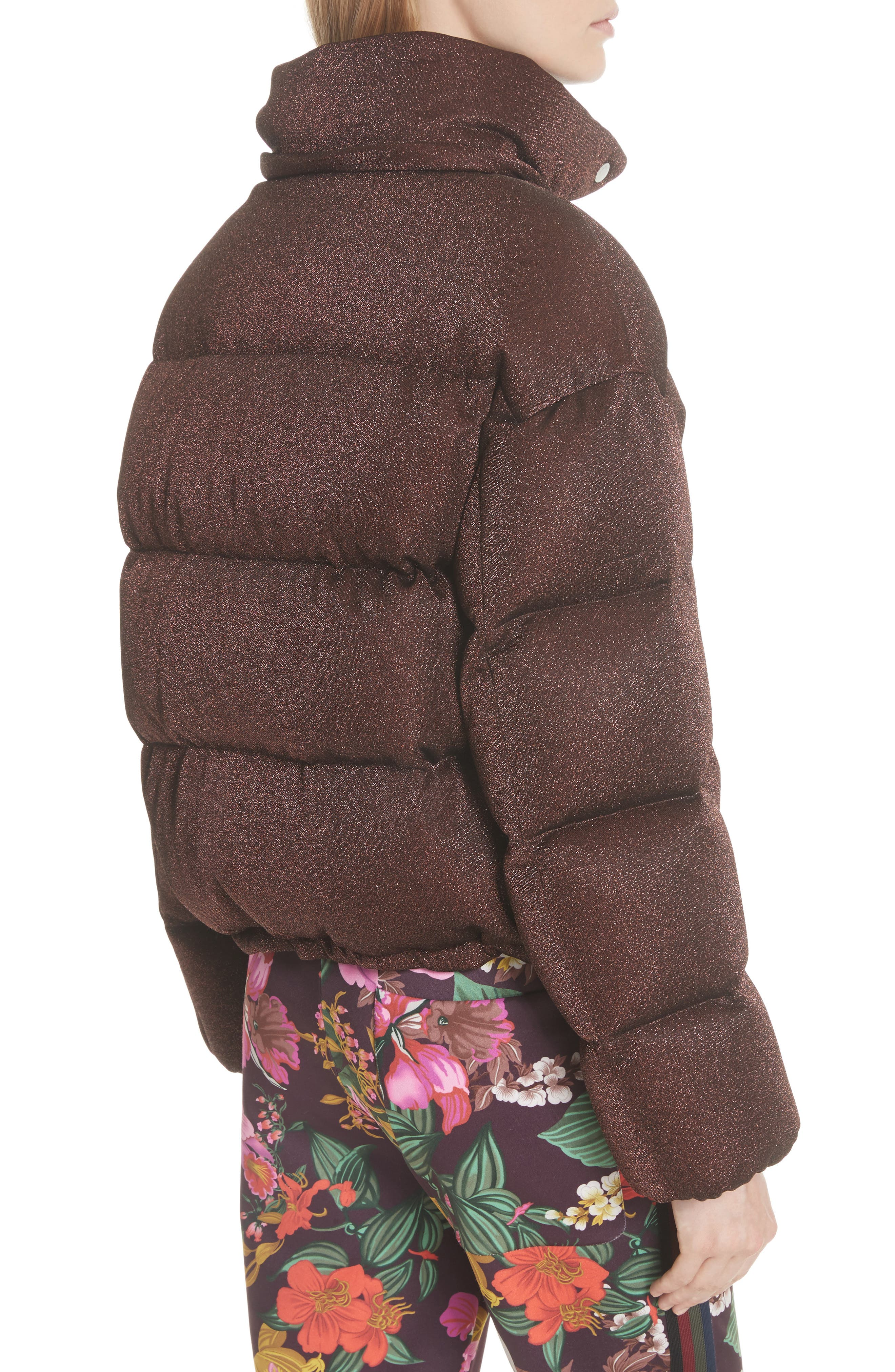Caille Metallic Quilted Down Jacket,                             Alternate thumbnail 2, color,                             BROWN LUREX