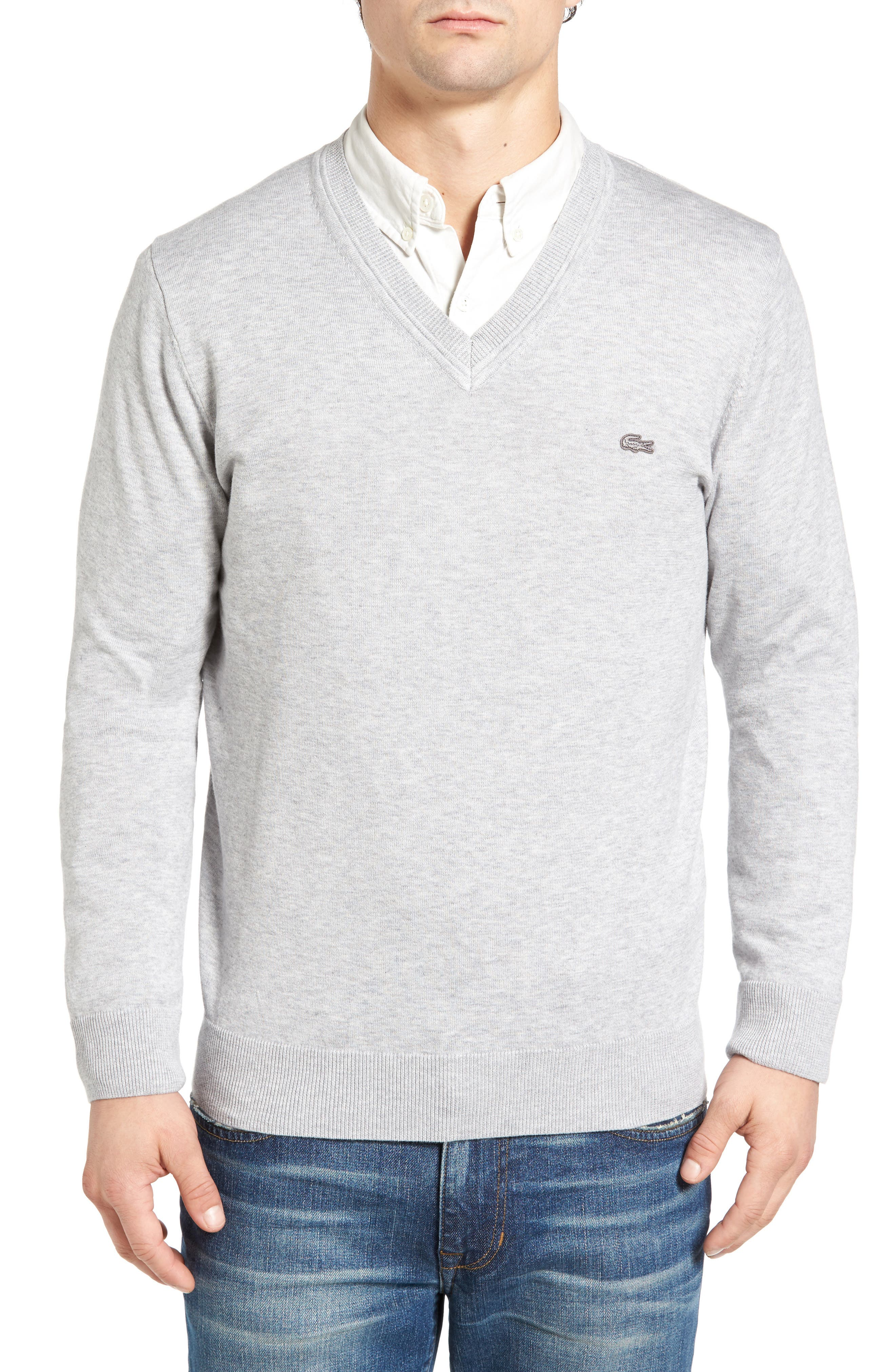 Cotton Jersey V-Neck Sweater,                             Main thumbnail 4, color,