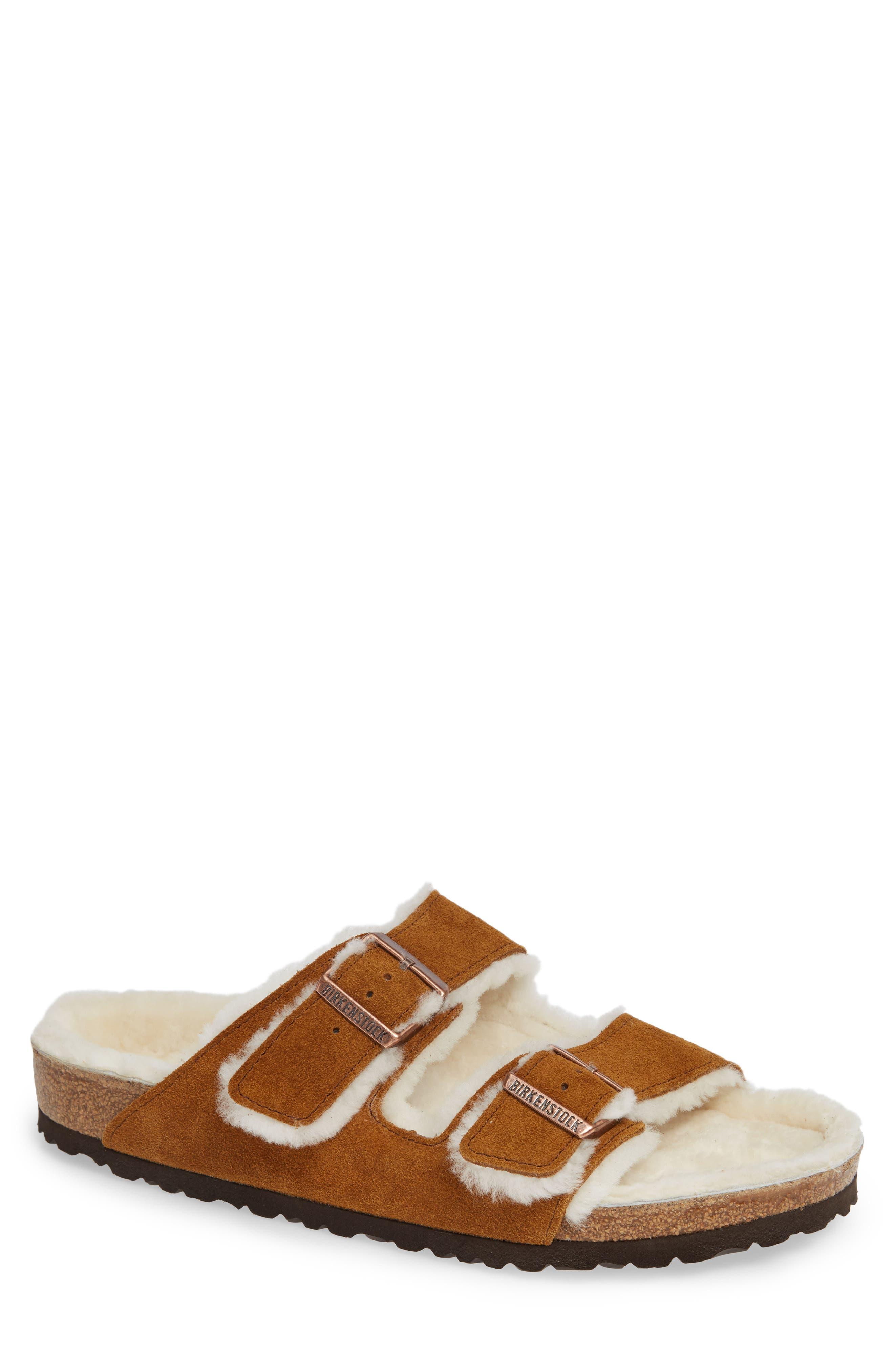 Arizona Slide Sandal with Genuine Shearling,                             Main thumbnail 1, color,                             BEIGE