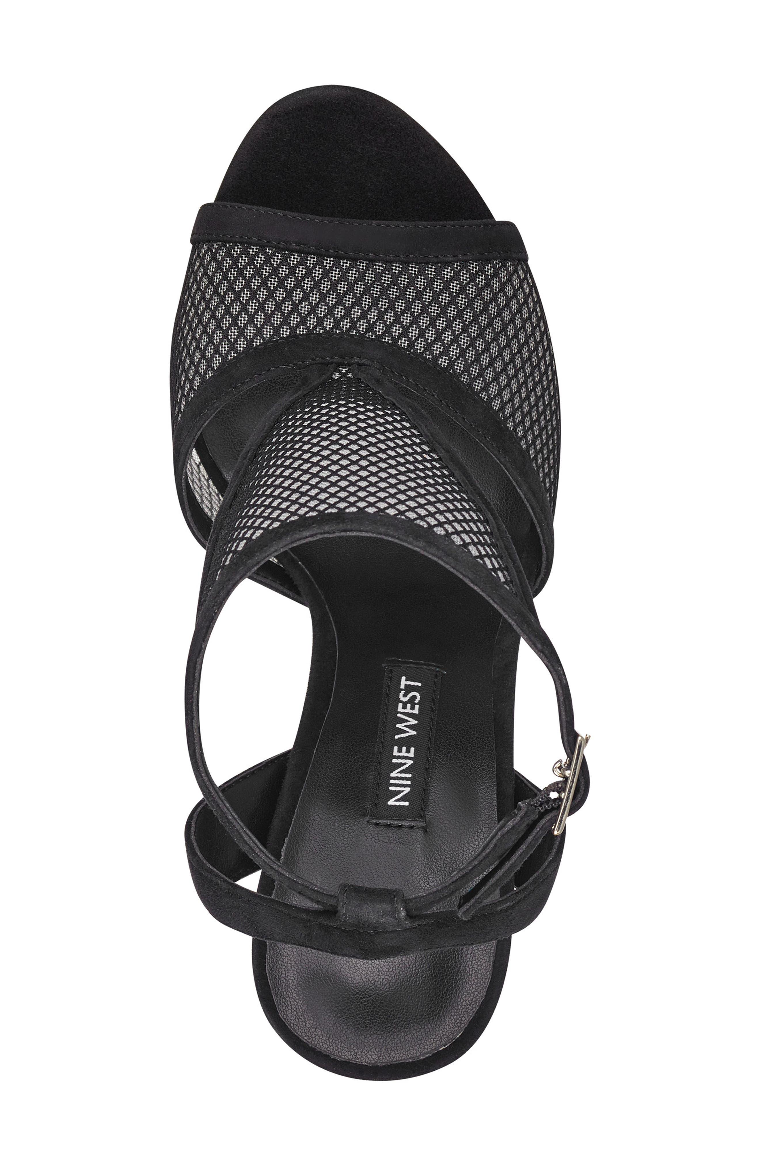 Manchon 2 Ankle Strap Sandal,                             Alternate thumbnail 5, color,                             BLACK STRETCH MESH/ LEATHER