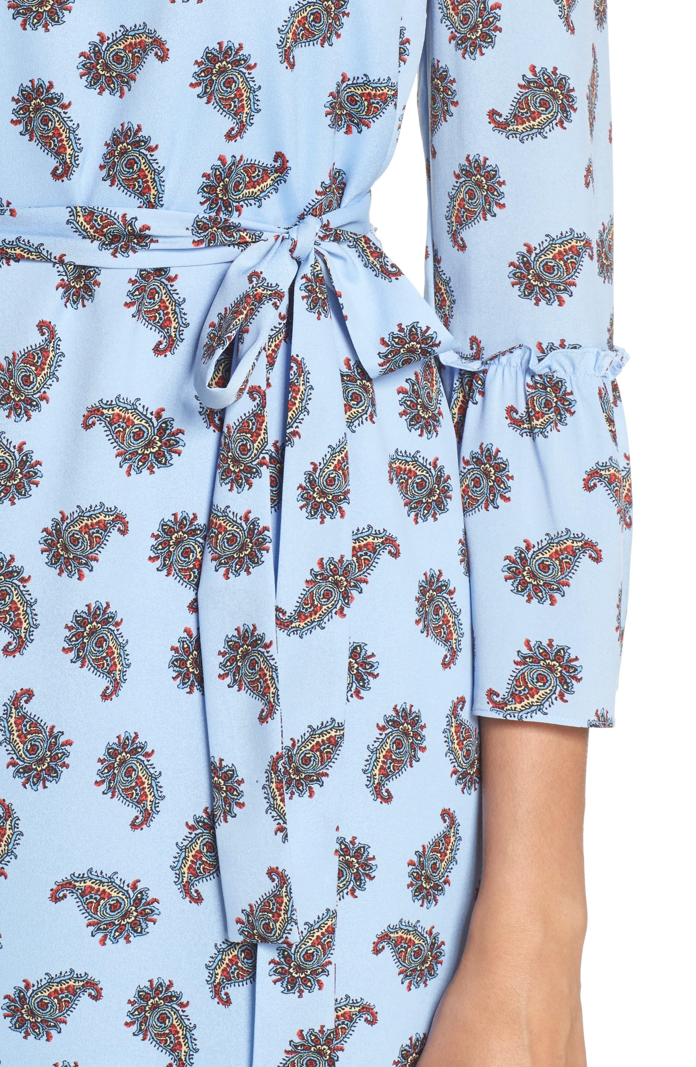 Orli Paisley Print Bell Sleeve Dress,                             Alternate thumbnail 4, color,