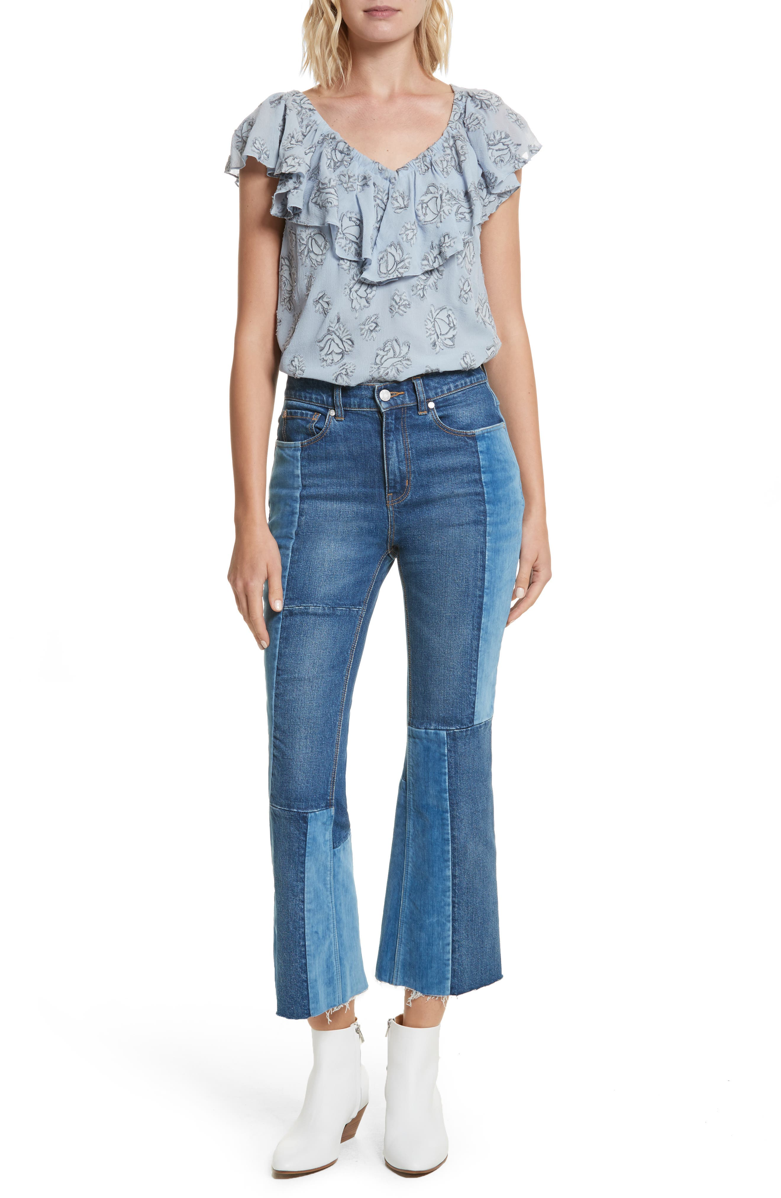 Patched Velvet & Rigid Denim Jeans,                             Alternate thumbnail 7, color,