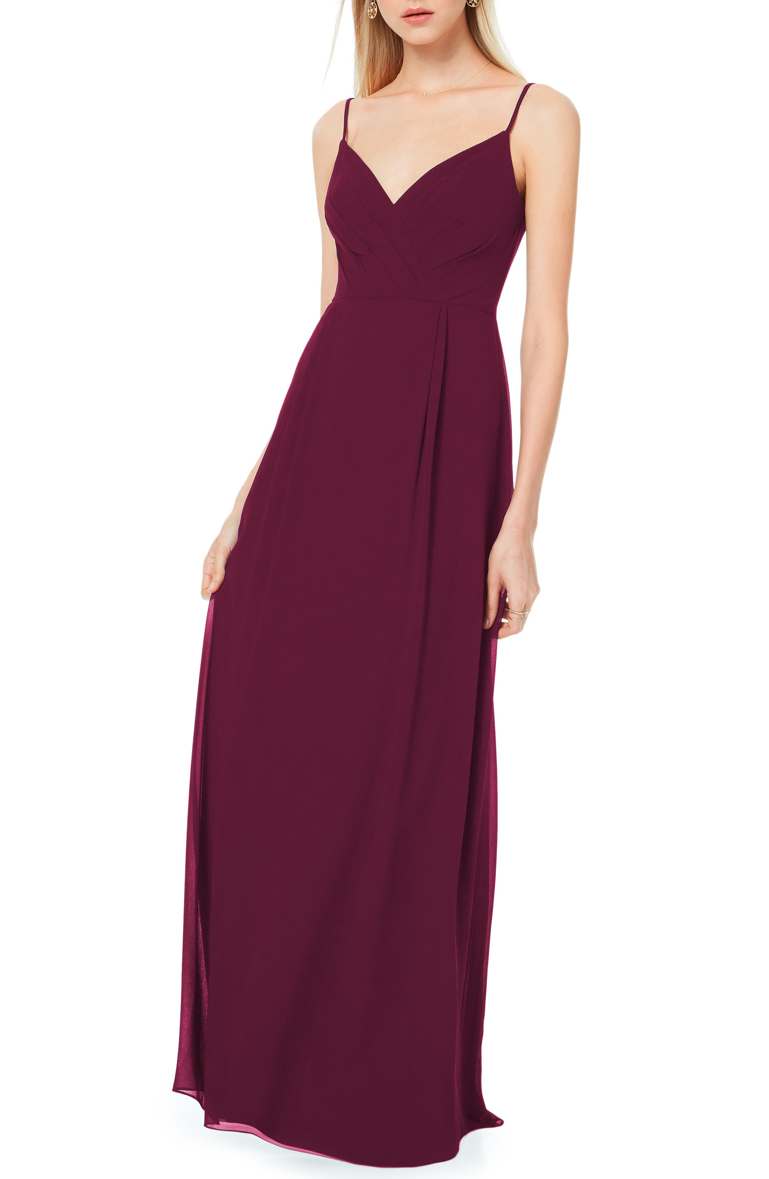 Pleated Bodice Chiffon Gown,                         Main,                         color, WINE
