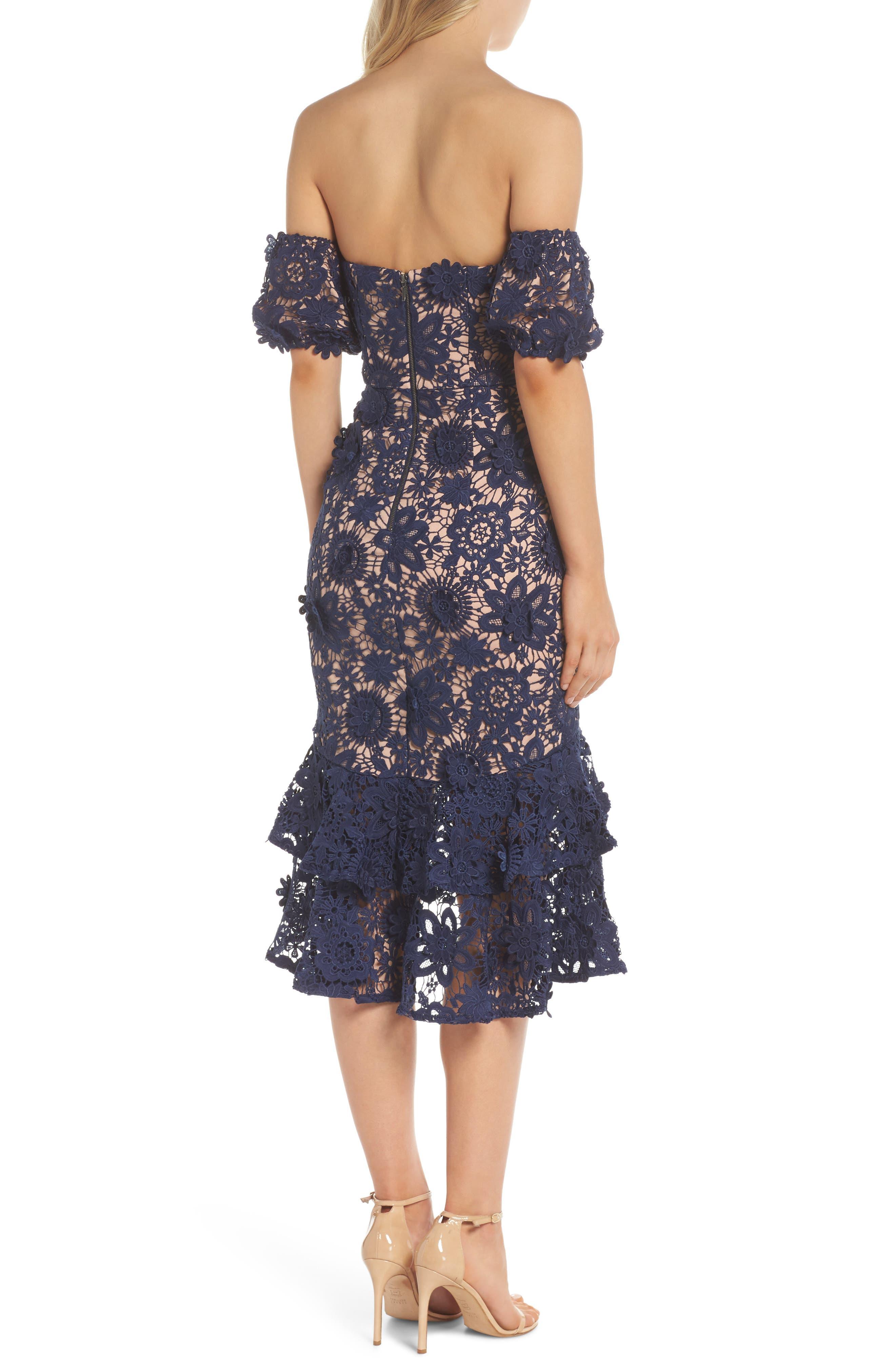 Merrilee Off the Shoulder 3D Lace Dress,                             Alternate thumbnail 2, color,                             NAVY