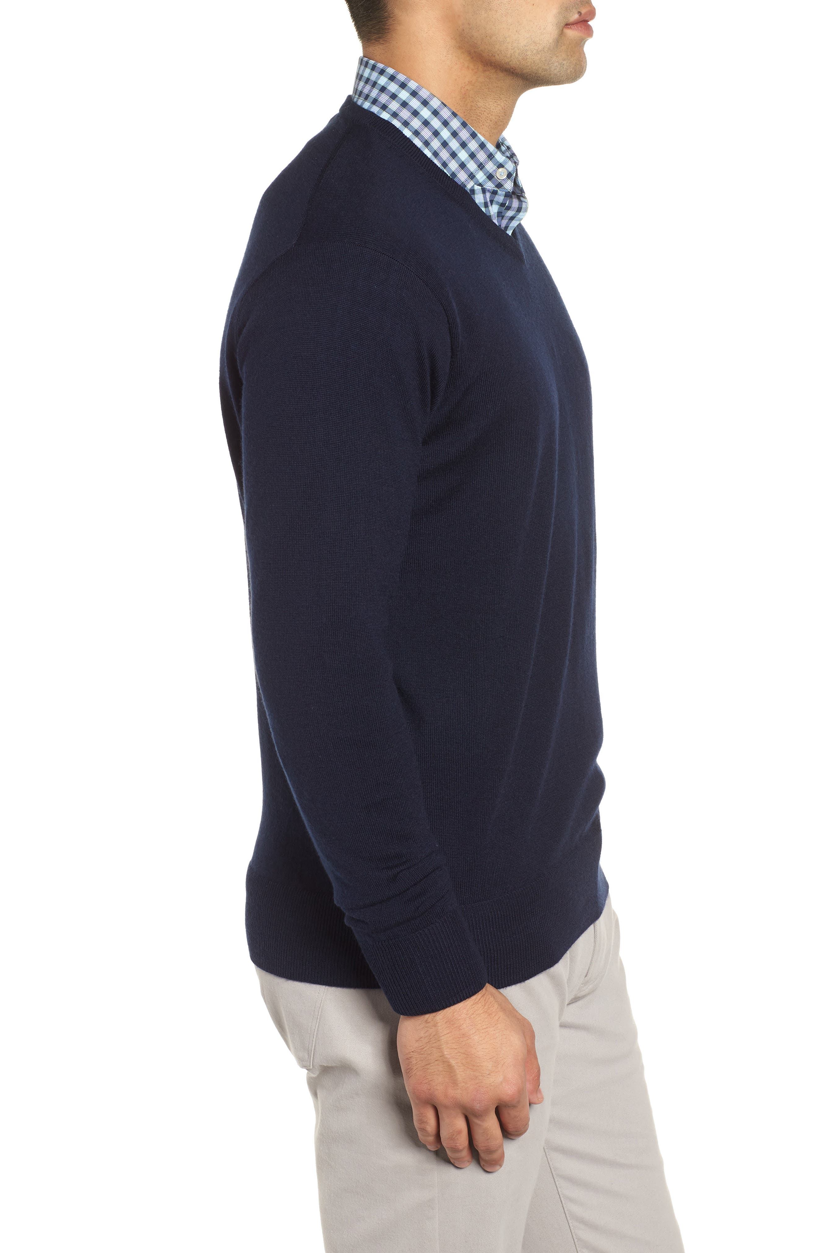 Wool & Silk V-Neck Sweater,                             Alternate thumbnail 3, color,                             NAVY
