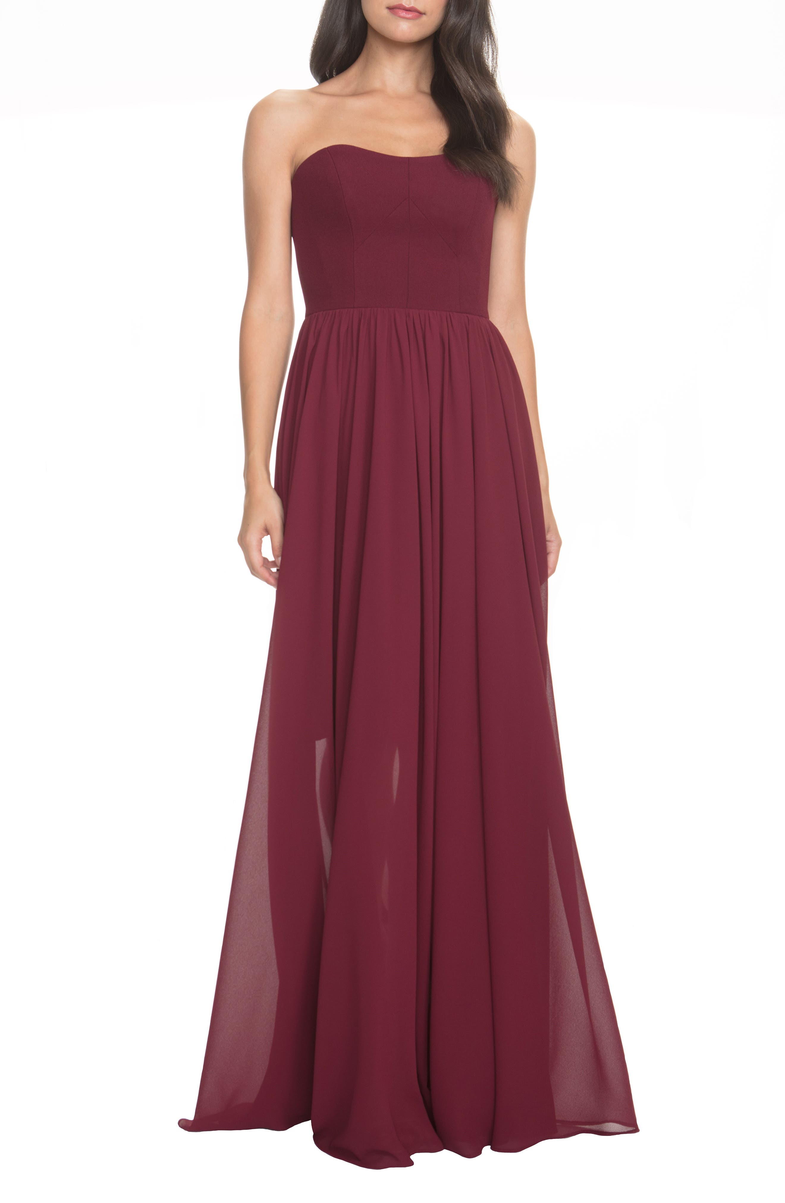 Dress The Population Ella Strapless Crepe Chiffon Gown, Burgundy