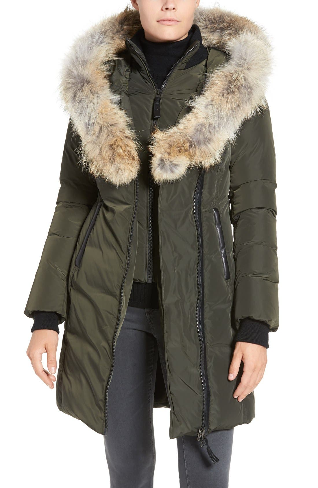Down Puffer with Coyote Fur Trim,                             Alternate thumbnail 12, color,