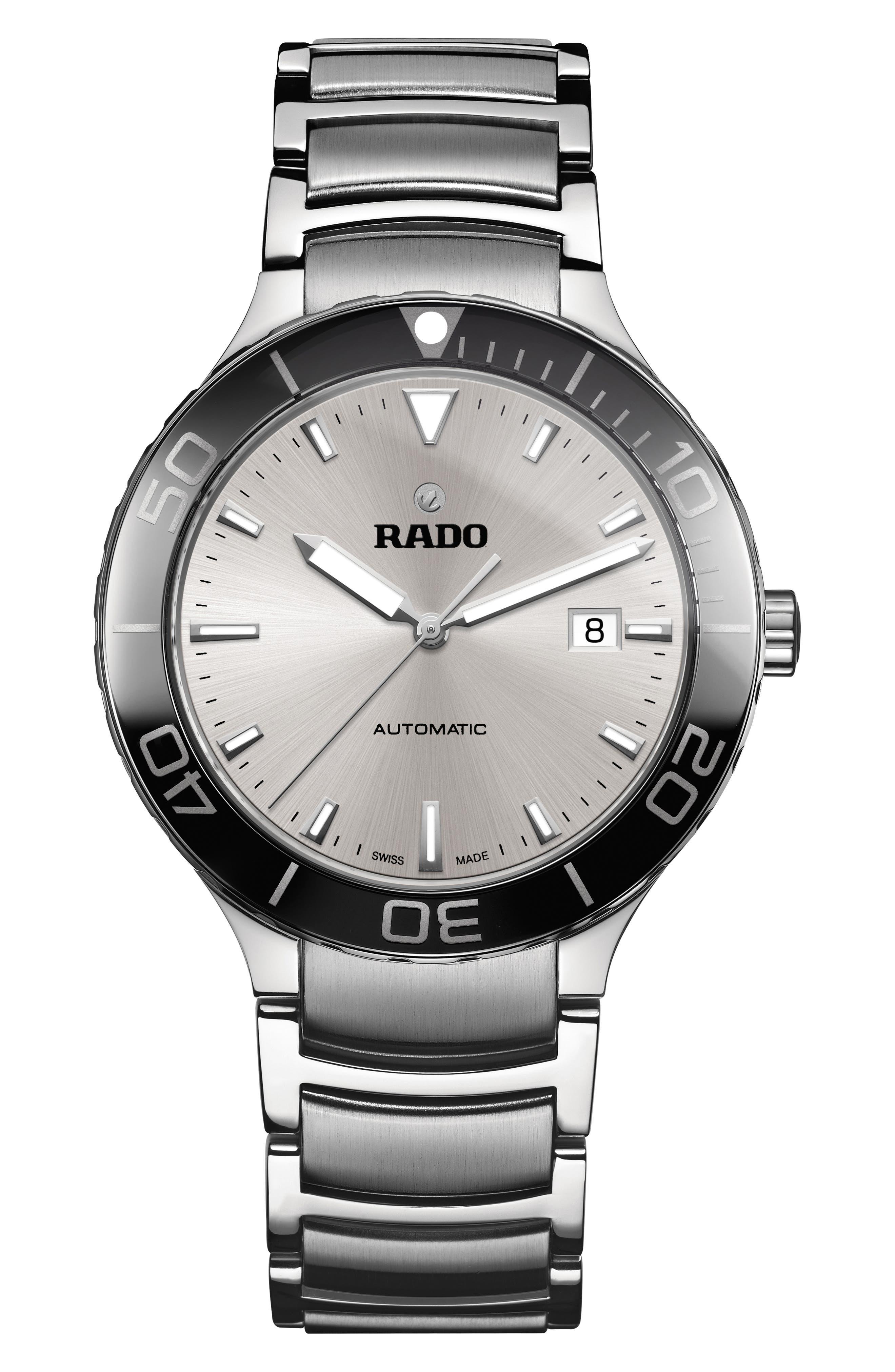 RADO Centrix Automatic Bracelet Watch, 42Mm in Silver/ Black