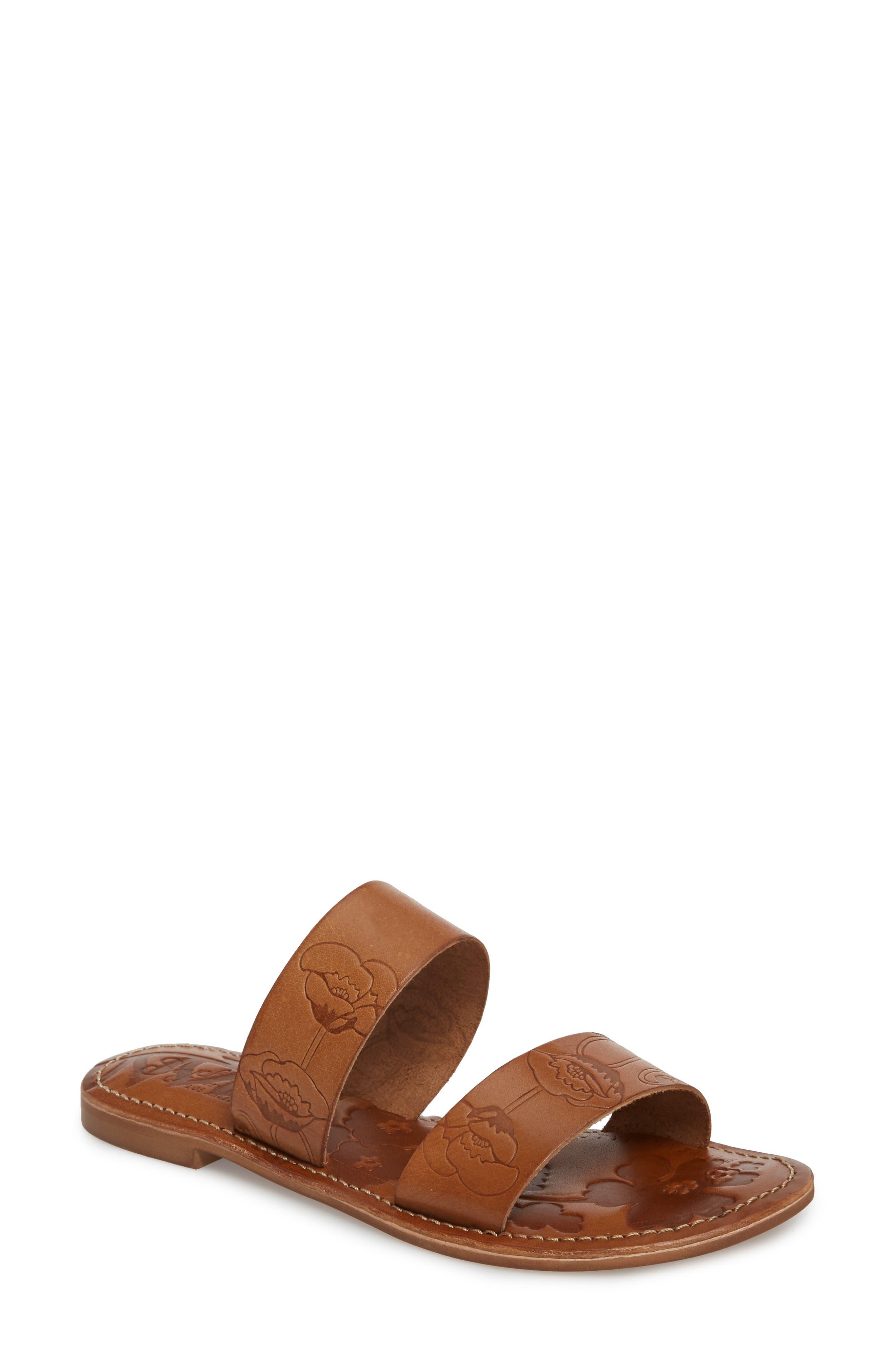 Sheroes Slide Sandal,                         Main,                         color, BROWN LEATHER