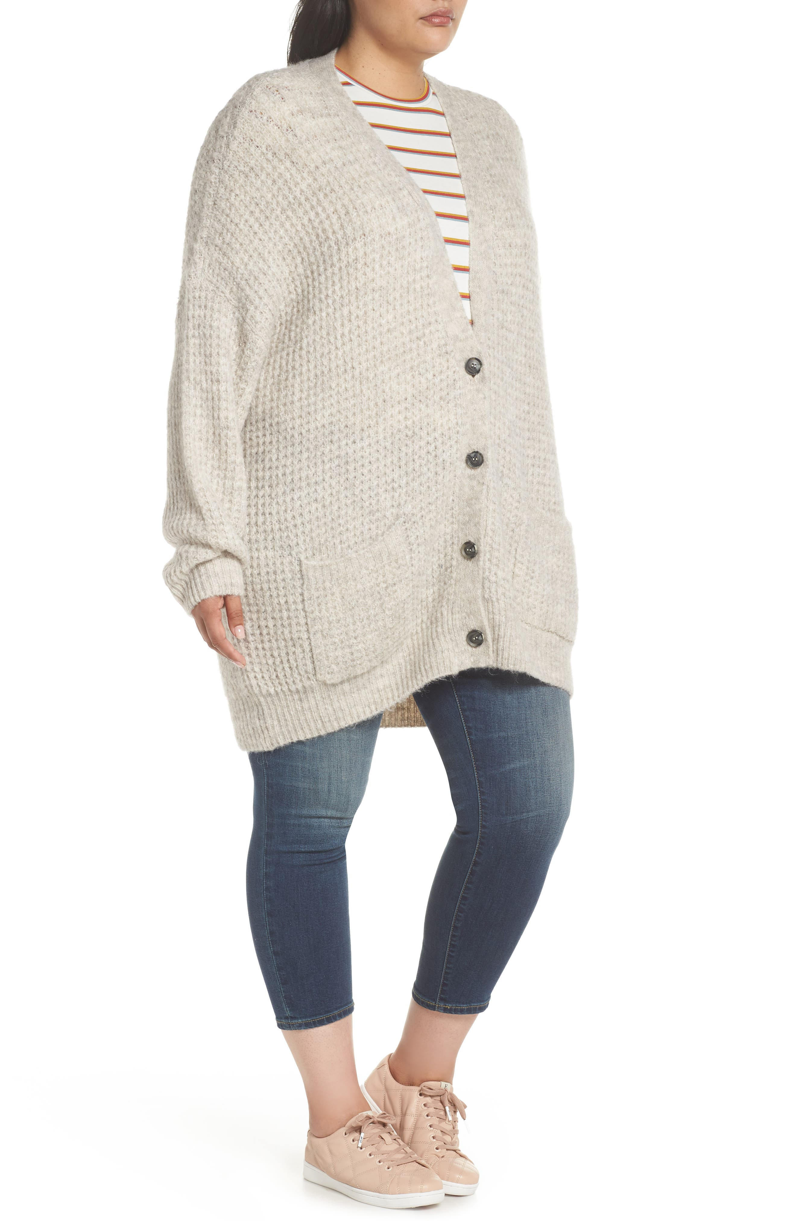 Oversized Waffle Stitch Cardigan,                             Alternate thumbnail 9, color,                             BEIGE BIRCH