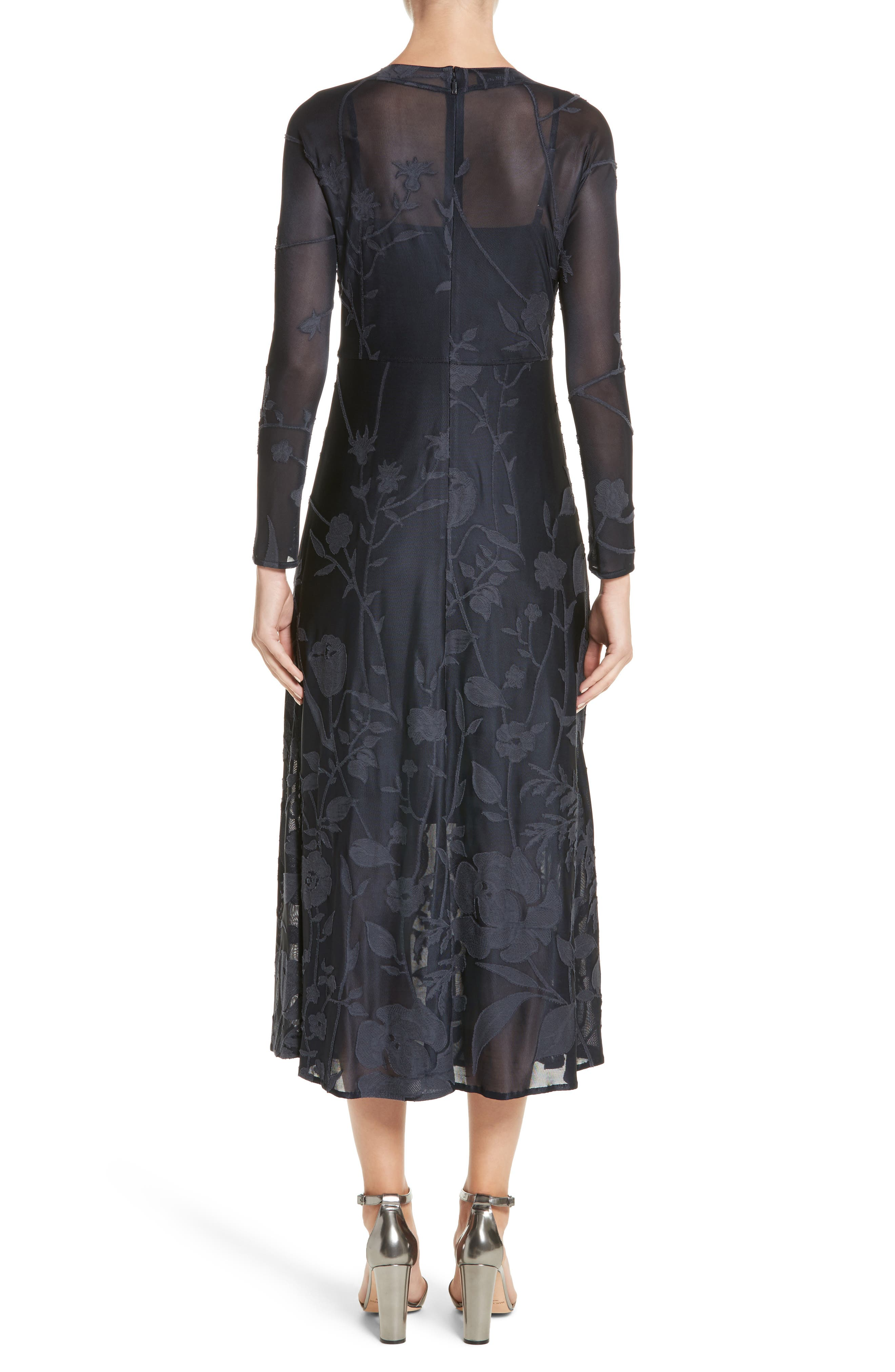Ivonna Sheer Fil Coupé Midi Dress,                             Alternate thumbnail 2, color,                             479