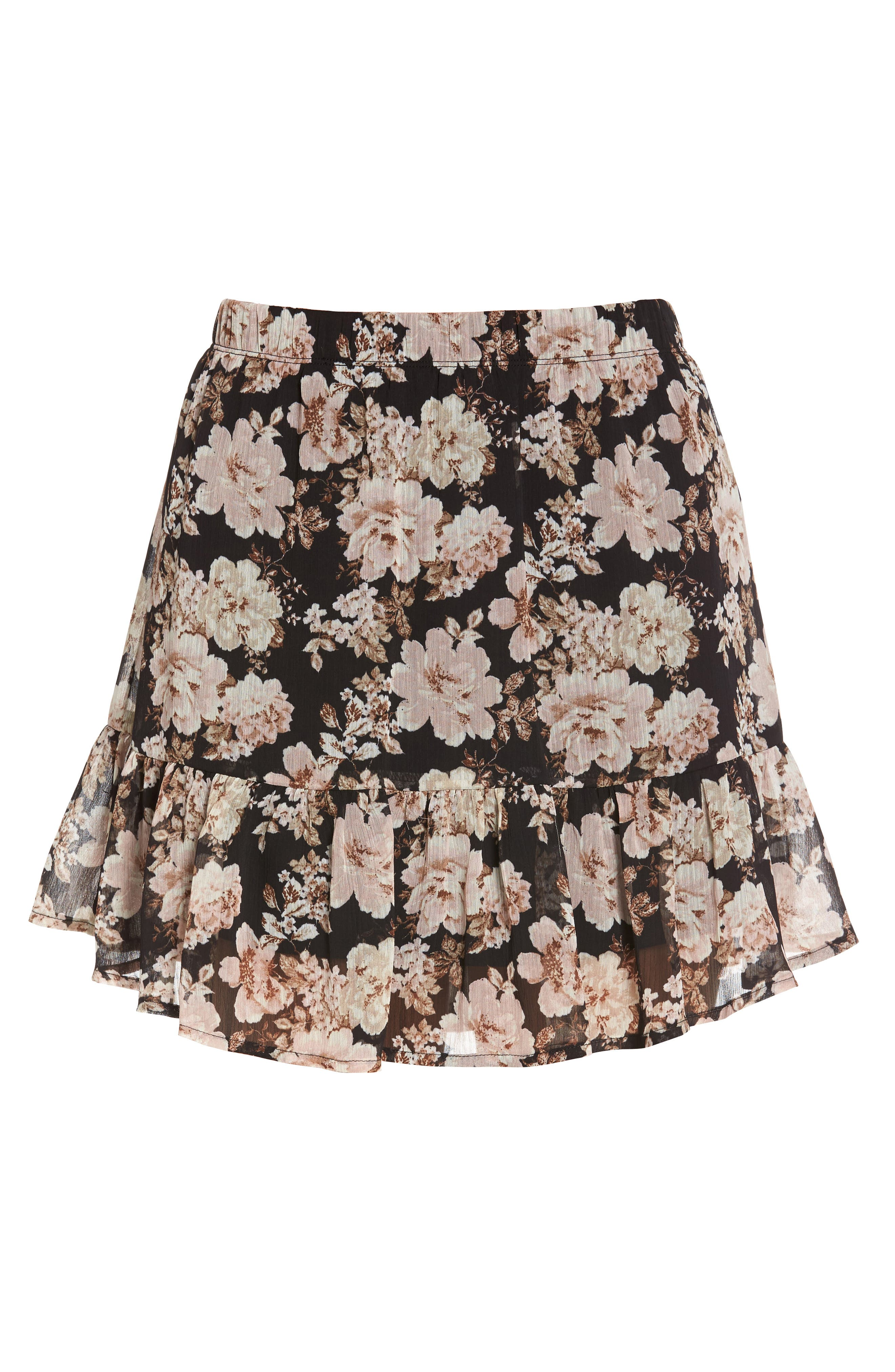 Floral Print Drop Waist Skirt,                             Alternate thumbnail 6, color,                             001