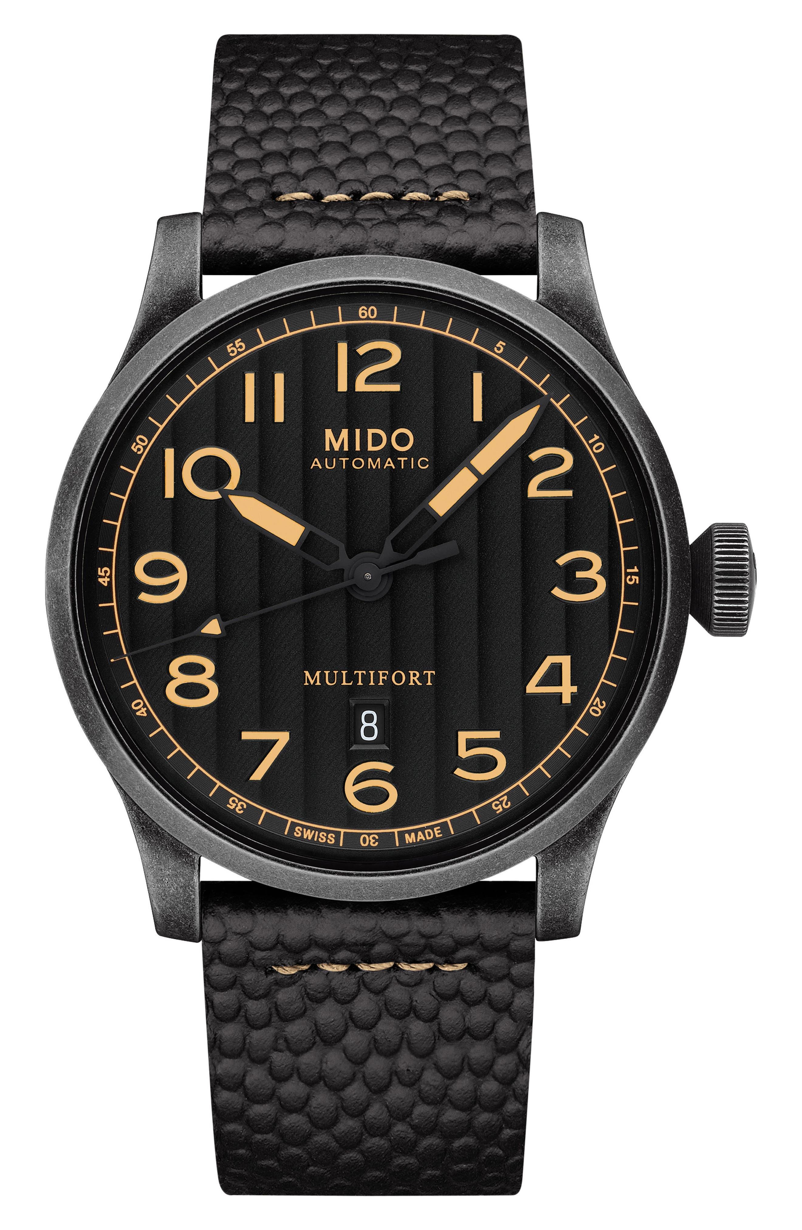 Multifort Escape Leather Strap Watch, 44mm,                             Alternate thumbnail 6, color,