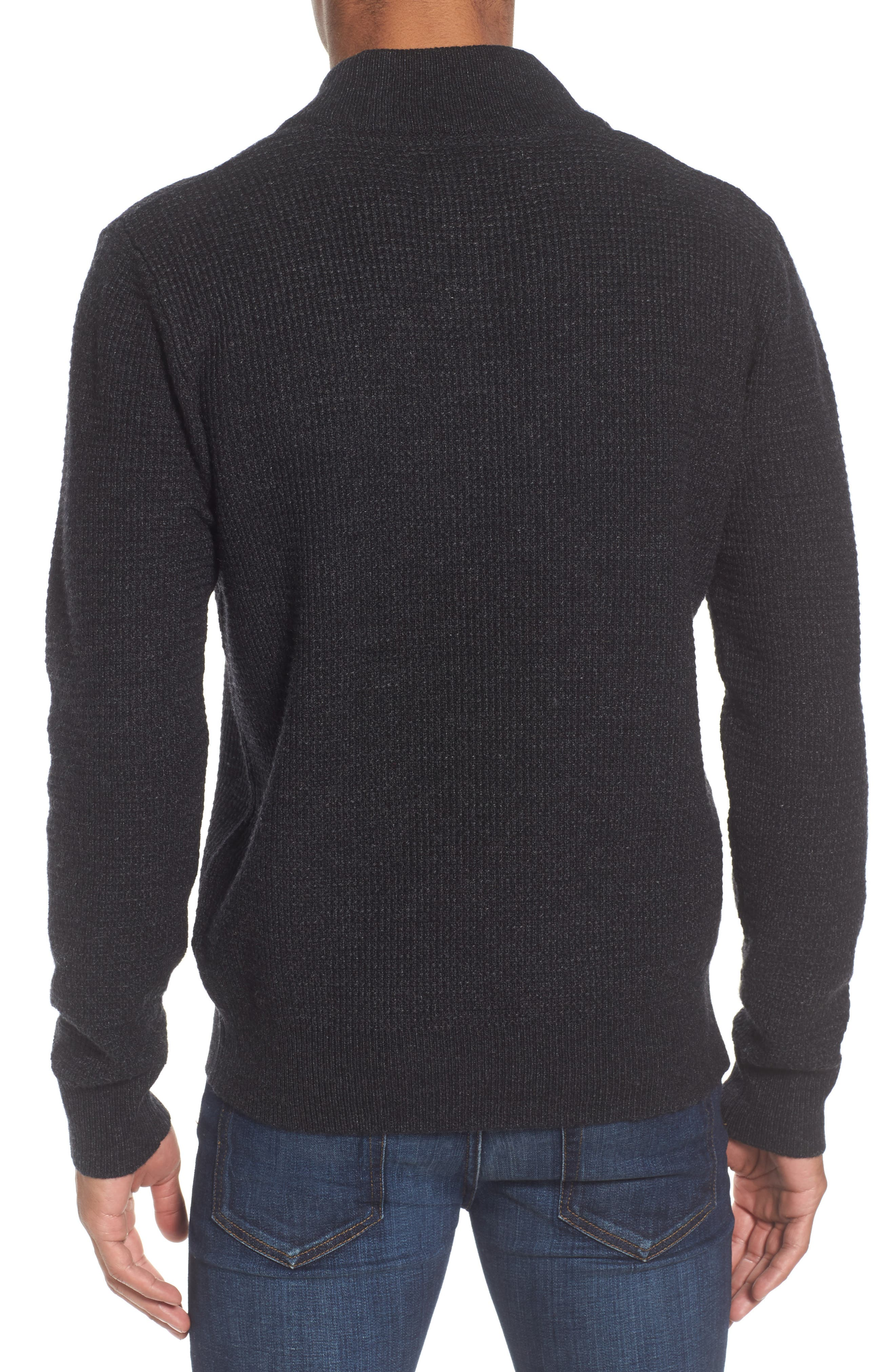 Waffle Knit Thermal Wool Blend Pullover,                             Alternate thumbnail 2, color,                             BLACK