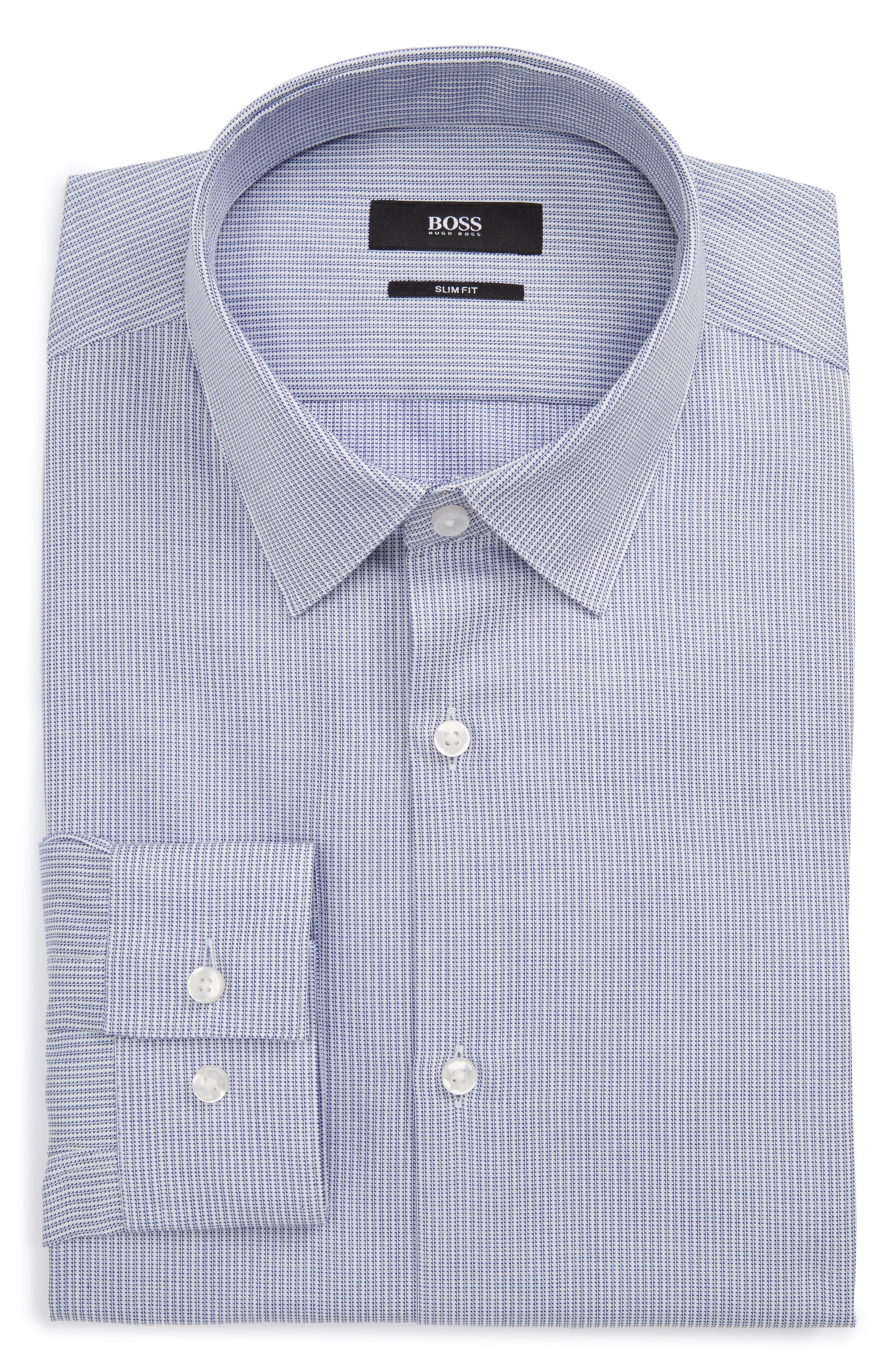 Isko Slim Fit Print Dress Shirt,                         Main,                         color, 420
