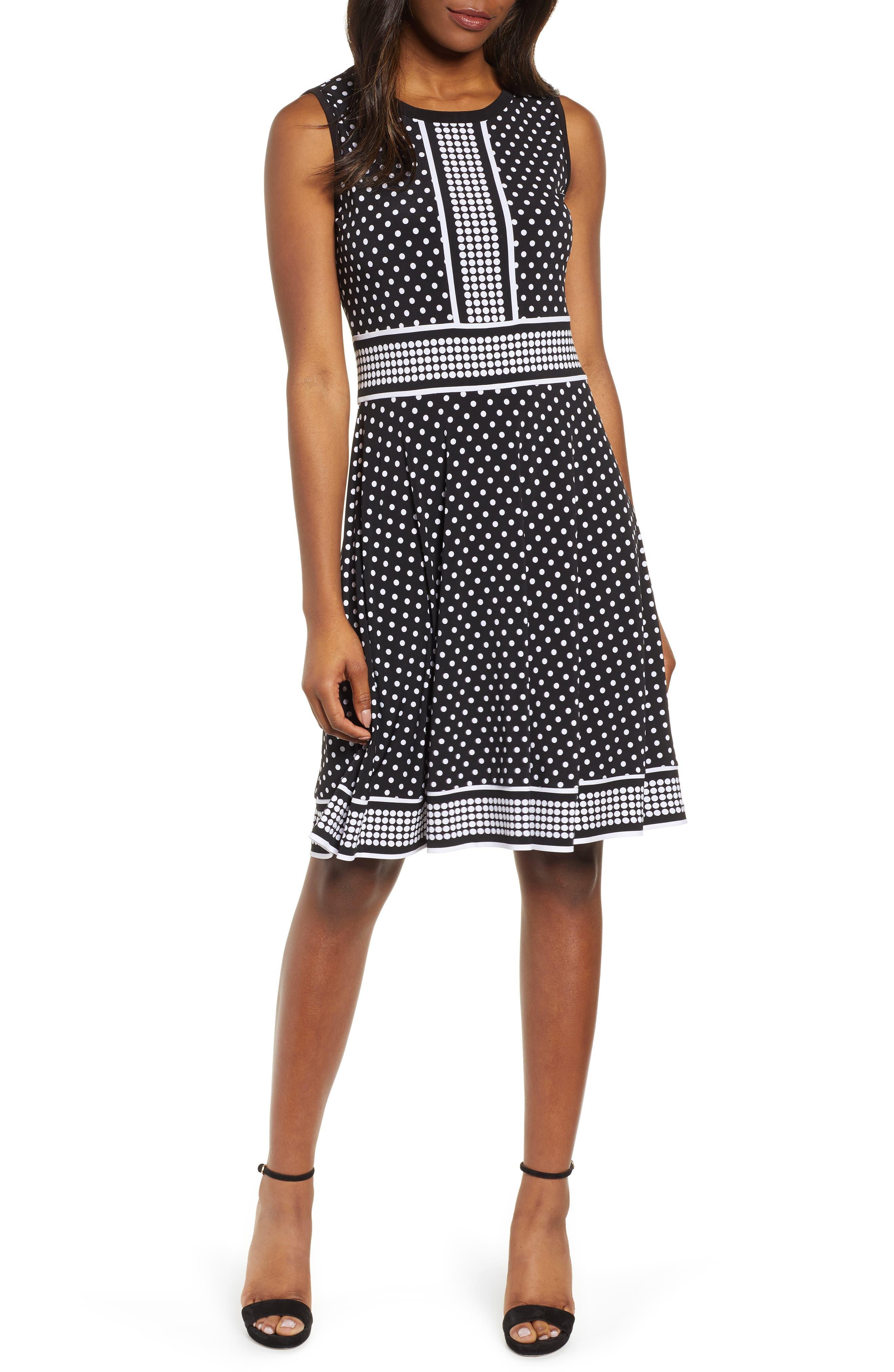 Michael Michael Kors Simple Dot Fit & Flare Dress, Black