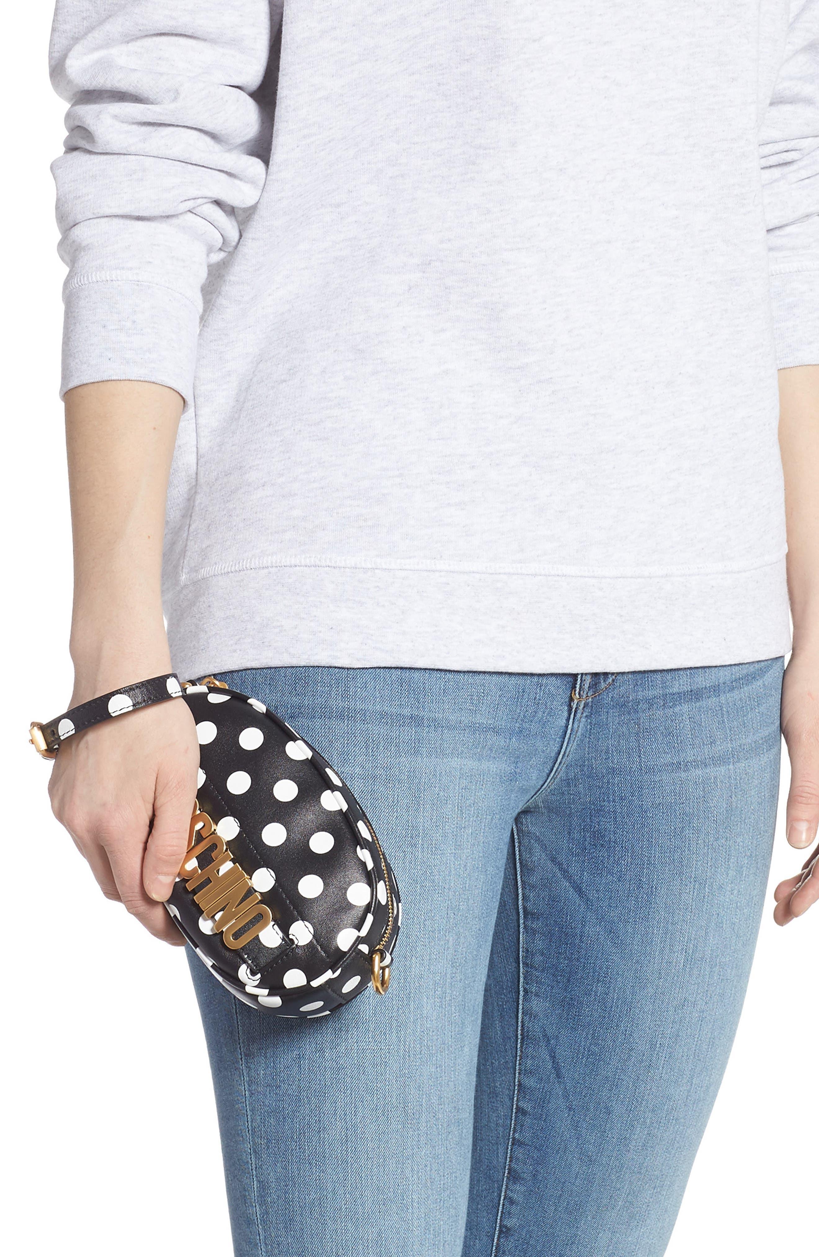 Logo Polka Dot Belt Bag,                             Alternate thumbnail 3, color,                             BLACK/ WHITE