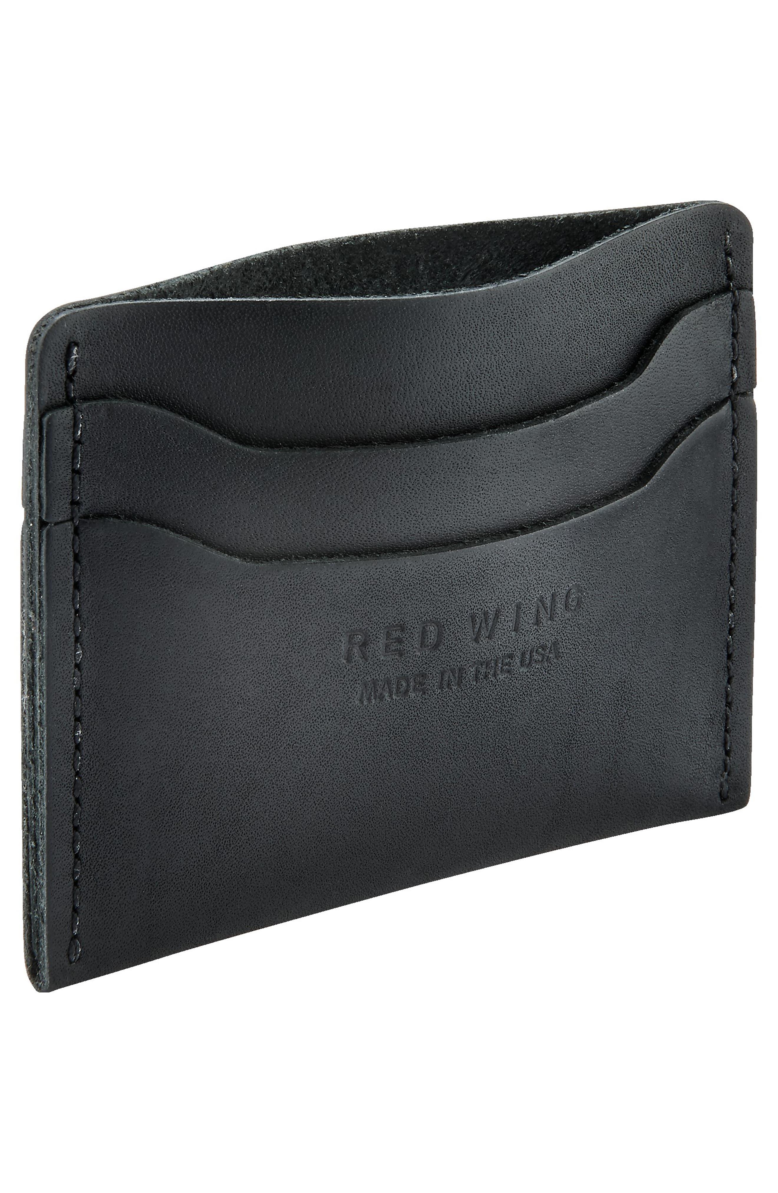 Leather Card Case,                             Alternate thumbnail 3, color,                             BLACK FRONTIER