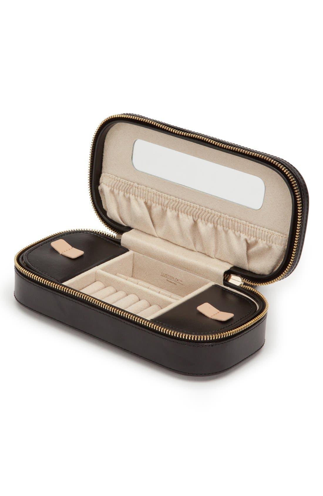 'Chloe' Zip Jewelry Case, Main, color, BLACK