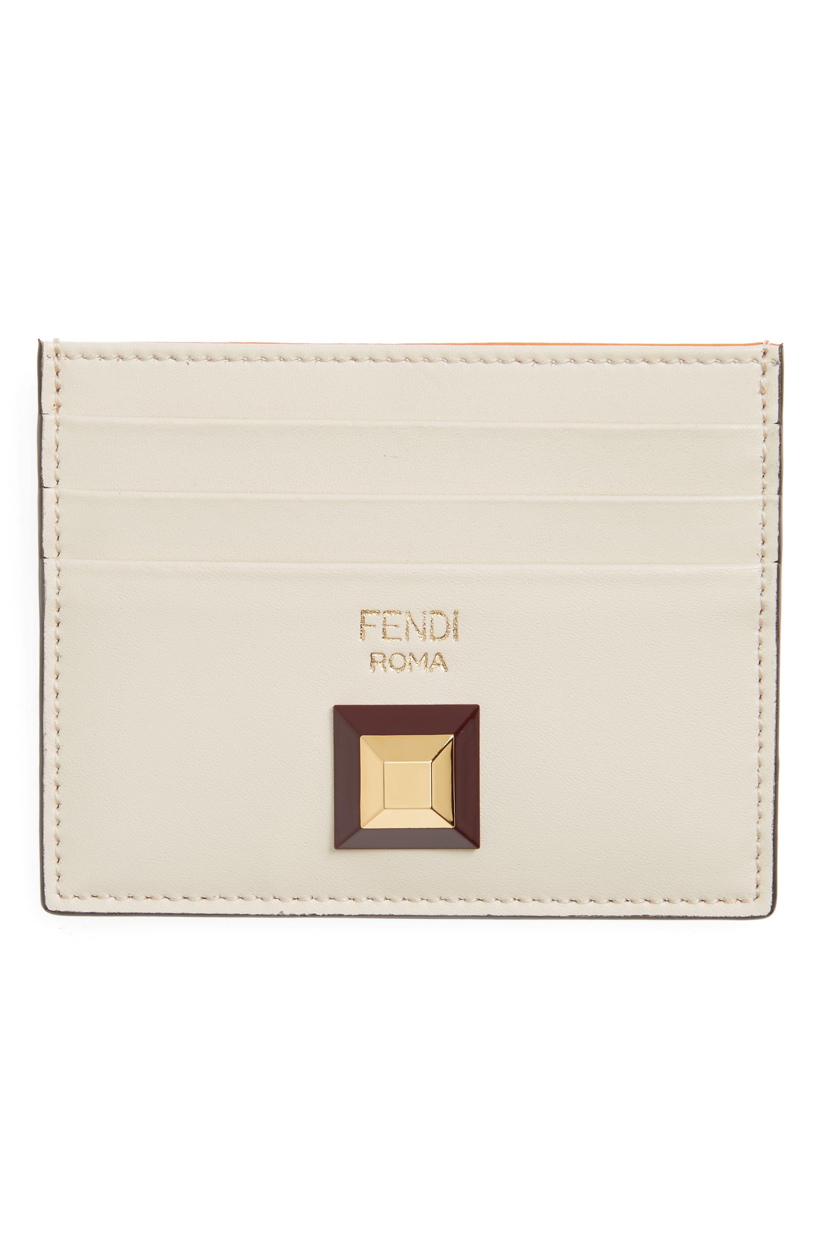 Rainbow Stud Leather Card Case,                         Main,                         color, 250