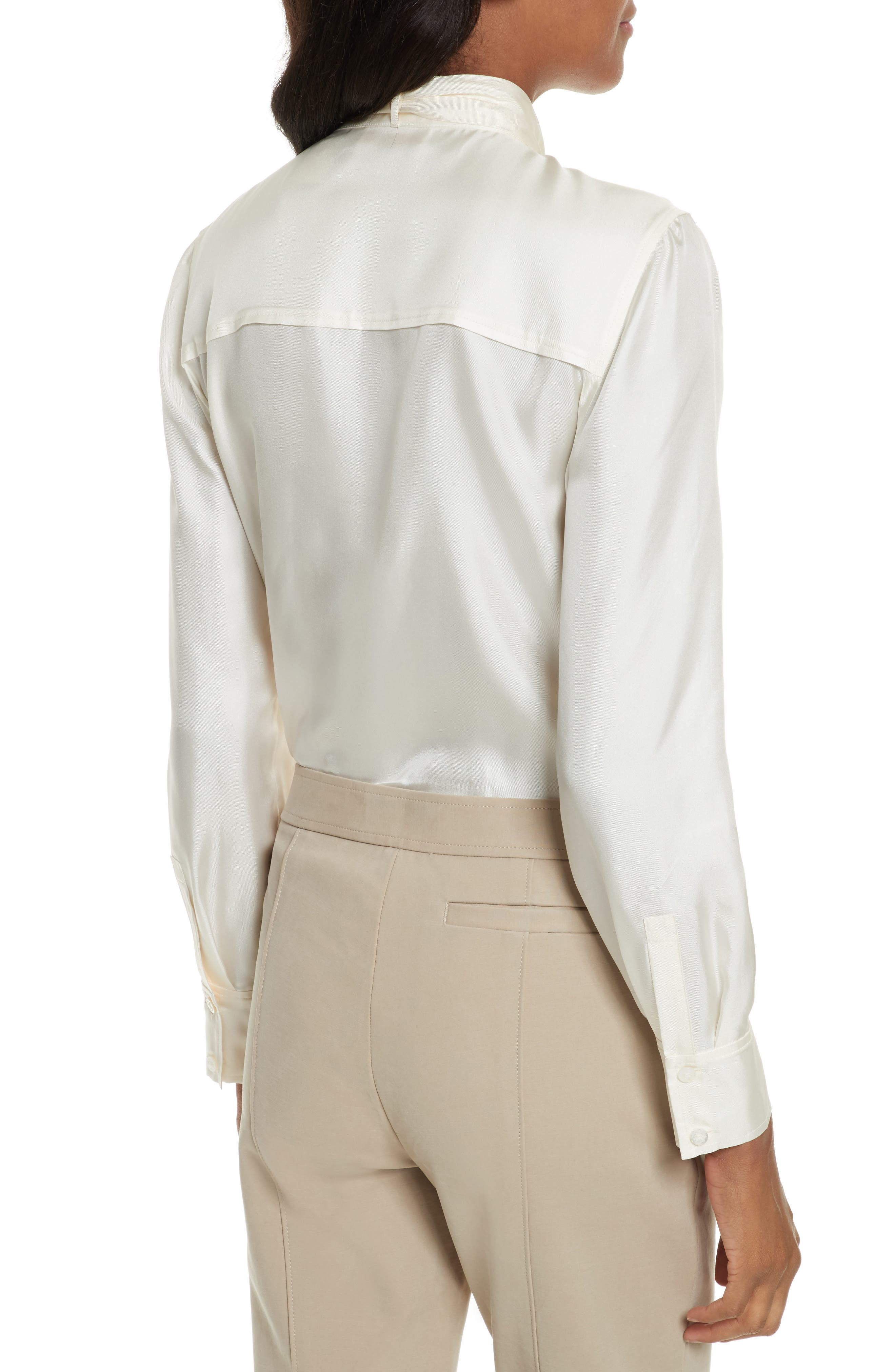 TORY BURCH,                             Holly Tie Neck Silk Blouse,                             Alternate thumbnail 2, color,                             904