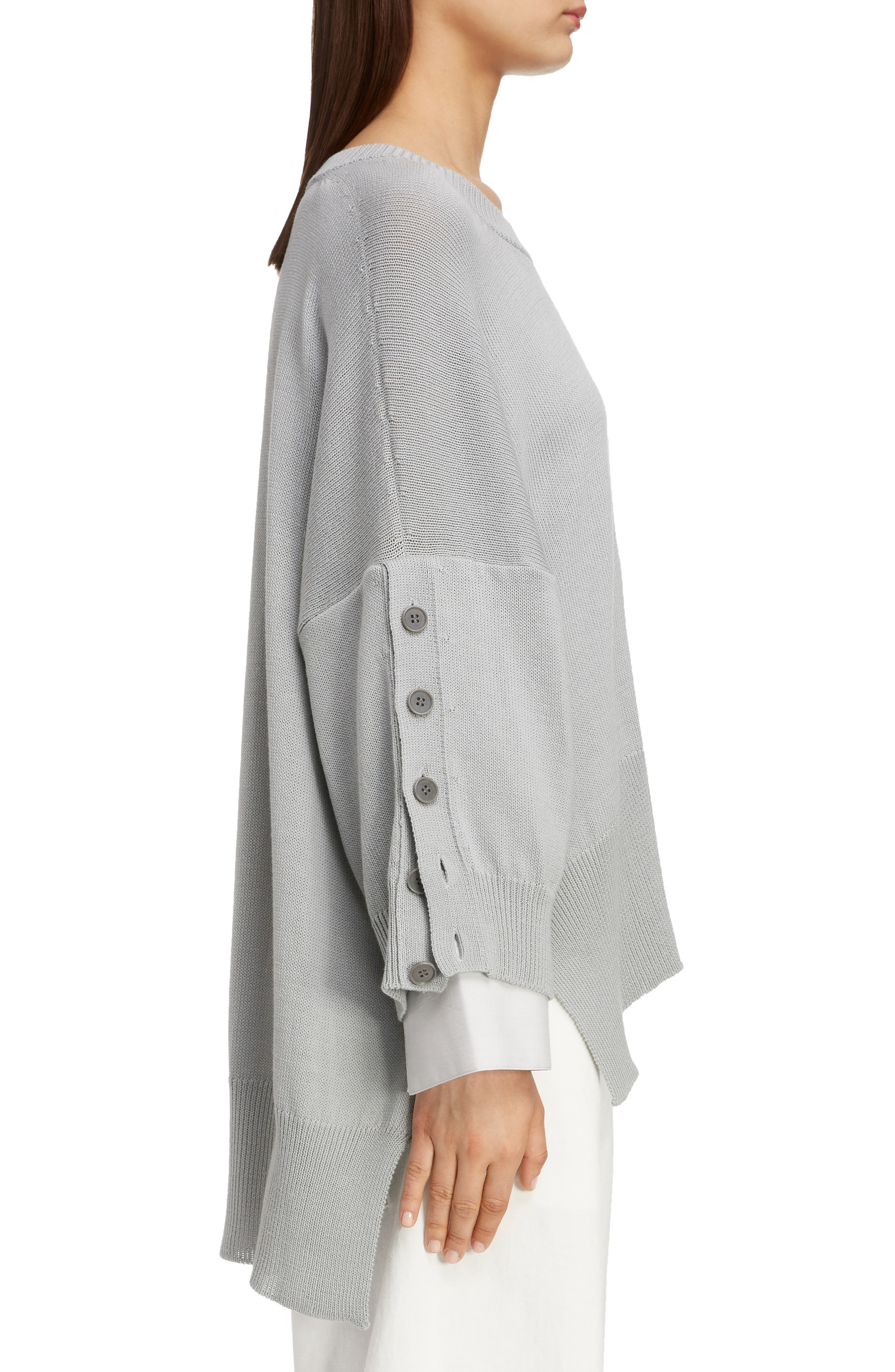 Button Sleeve Sweater,                             Alternate thumbnail 3, color,                             LIGHT GREY