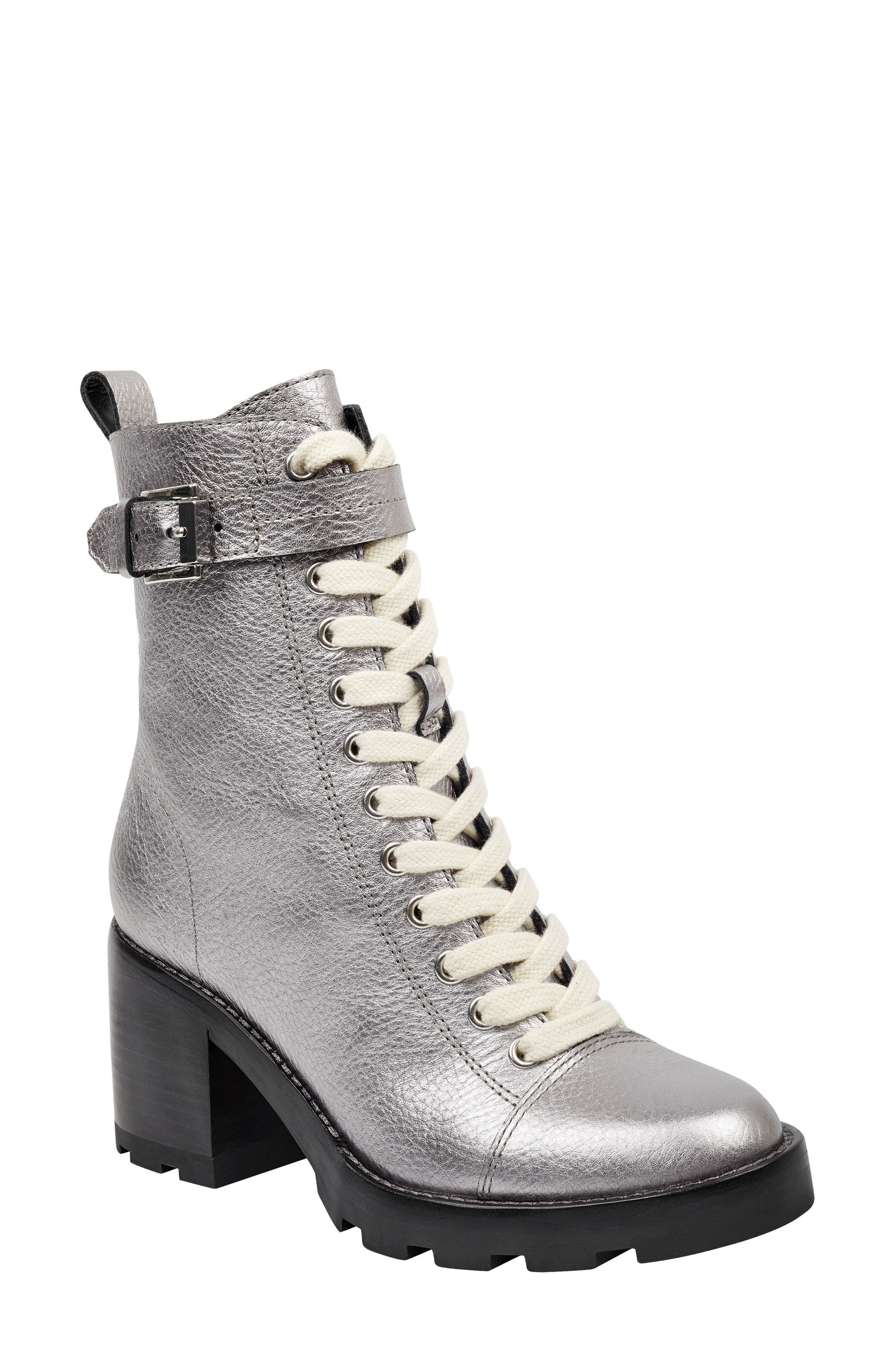 Waren Combat Boot,                             Main thumbnail 1, color,                             PEWTER LEATHER