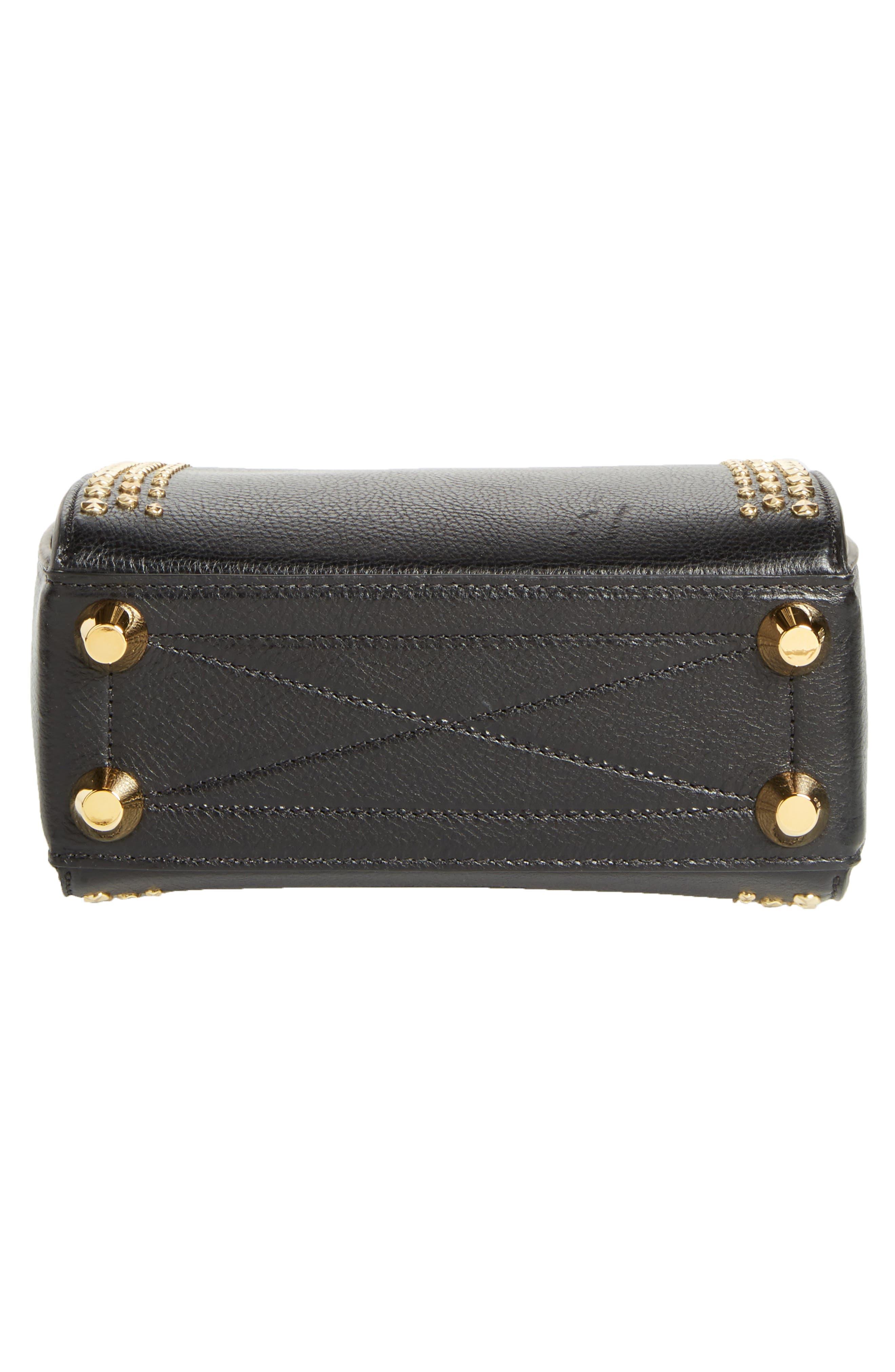 Box Bag 19 Studded Leather Bag,                             Alternate thumbnail 7, color,                             BLACK