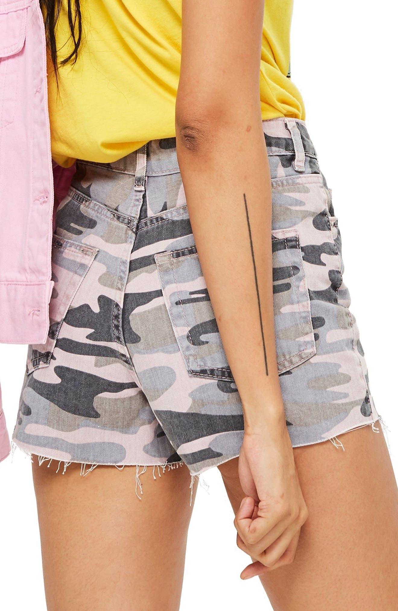 MOTO Fray Hem High Waist Shorts,                             Alternate thumbnail 2, color,                             PINK MULTI