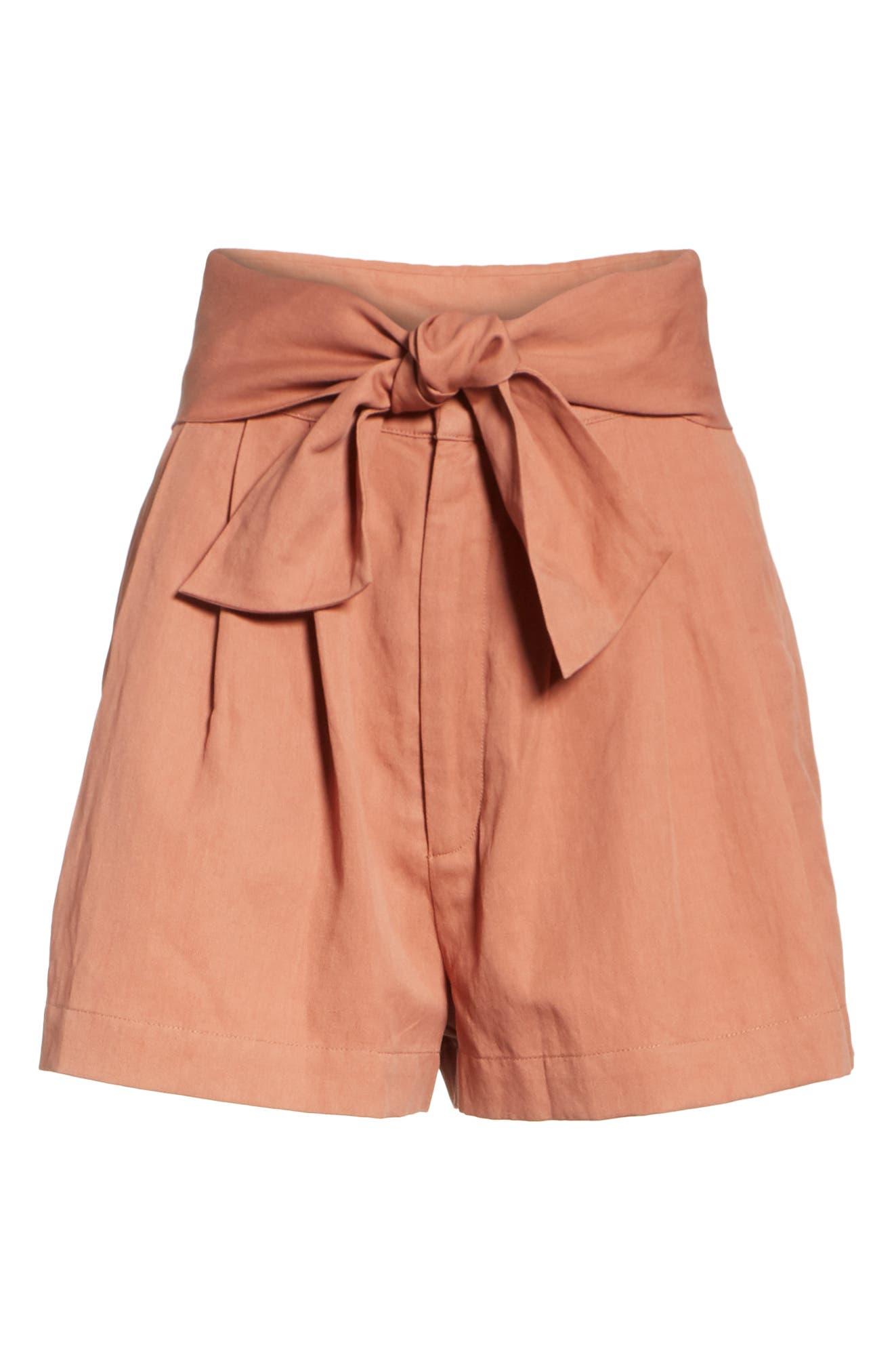 Martim Tie Waist Twill Shorts,                             Alternate thumbnail 6, color,                             200