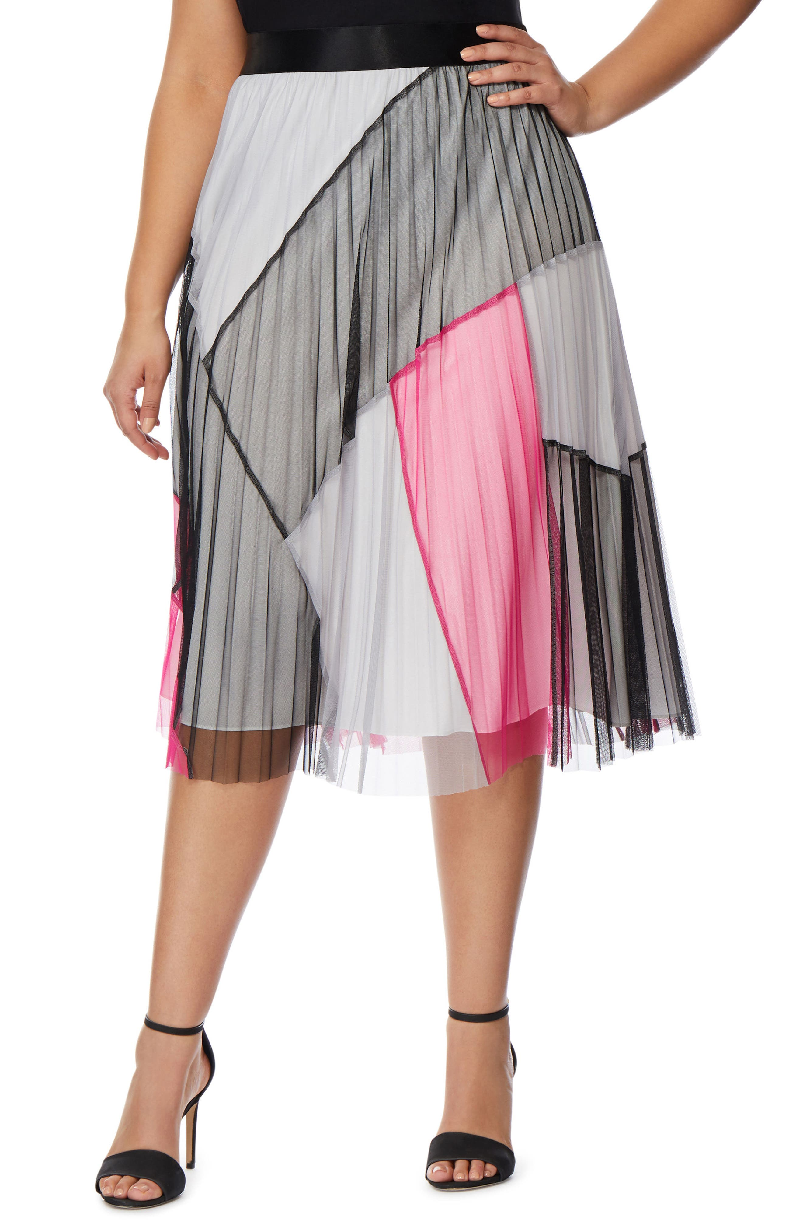 Colorblock Pleated Mesh Skirt,                             Main thumbnail 1, color,                             008
