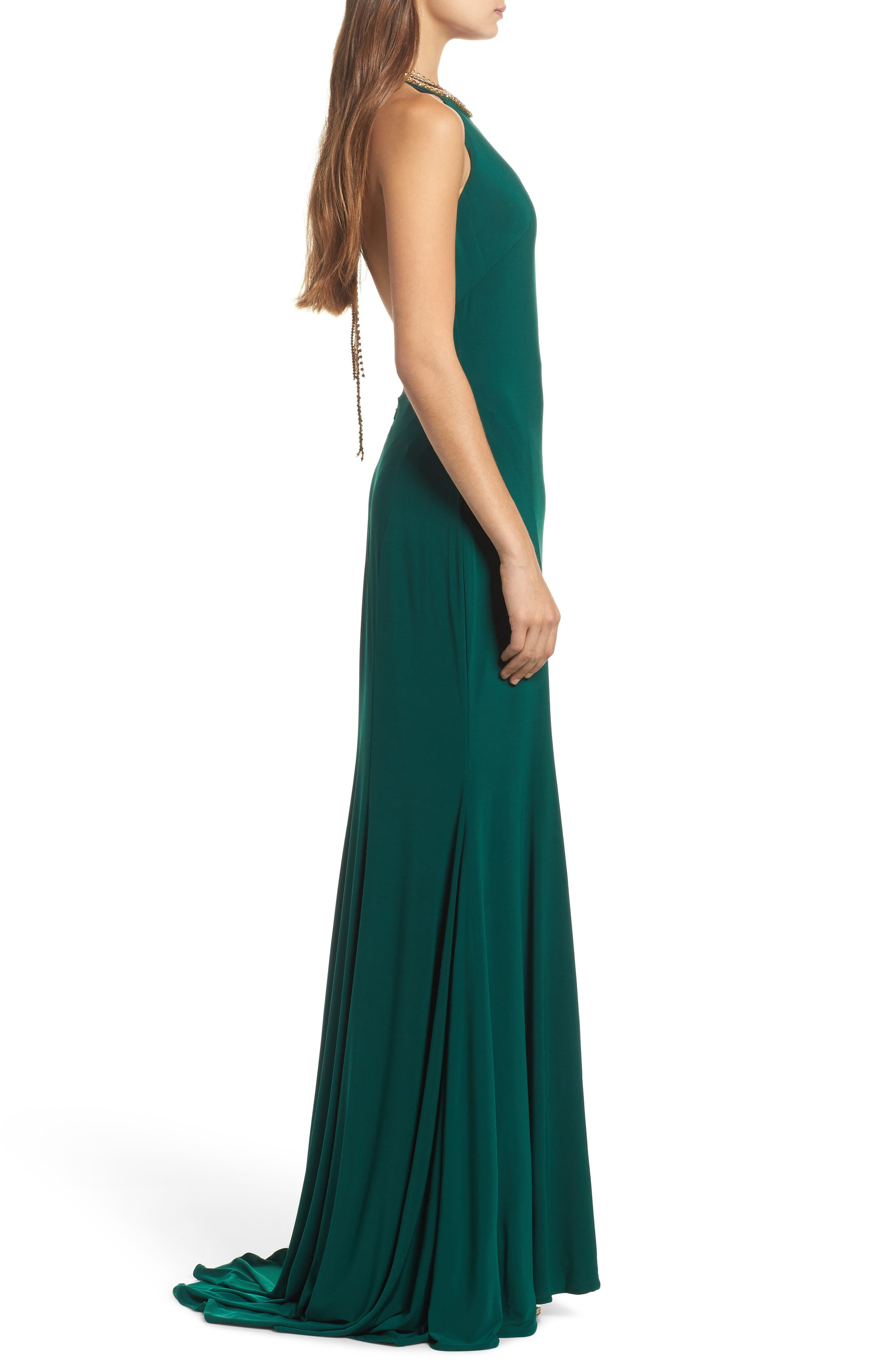 Beaded Halter Neck Gown,                             Alternate thumbnail 3, color,                             EMERALD