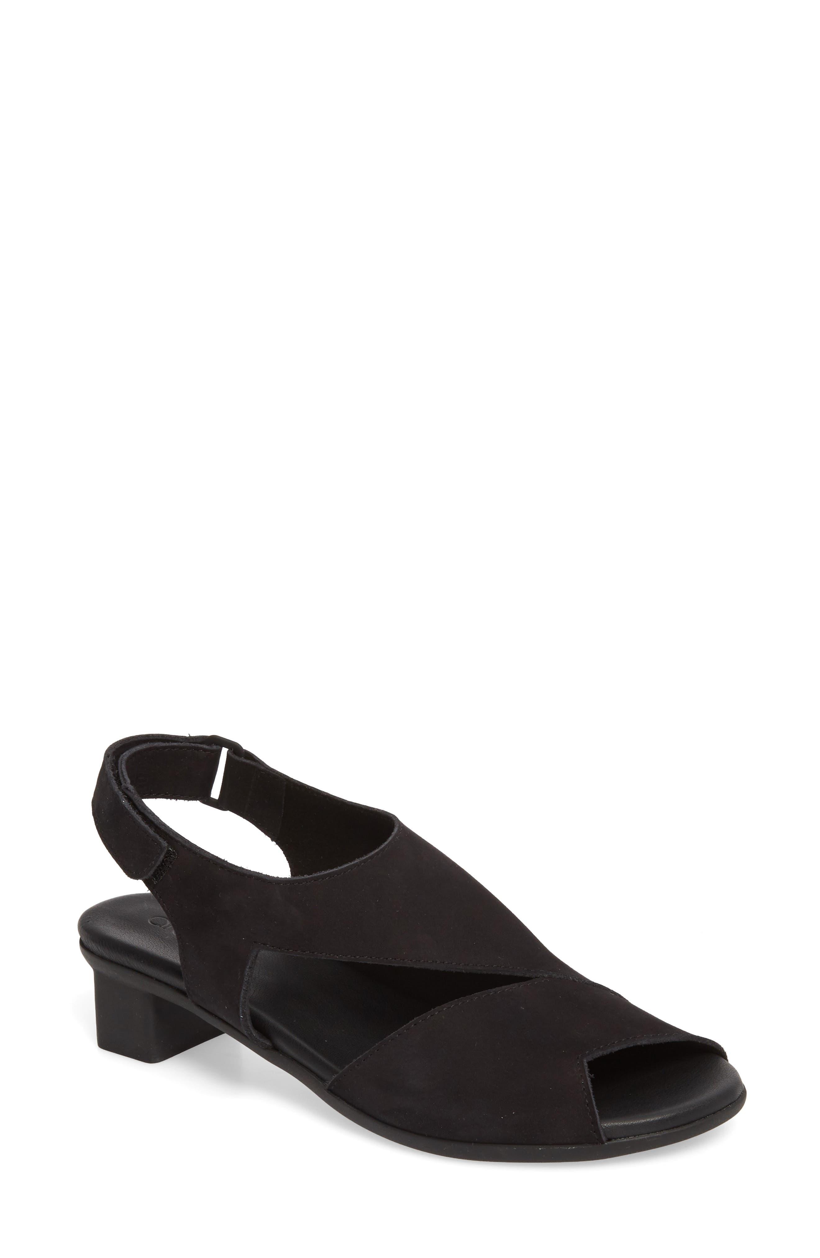 Obibbi Asymmetrical Slingback Sandal,                             Main thumbnail 1, color,                             NOIR NUBUCK