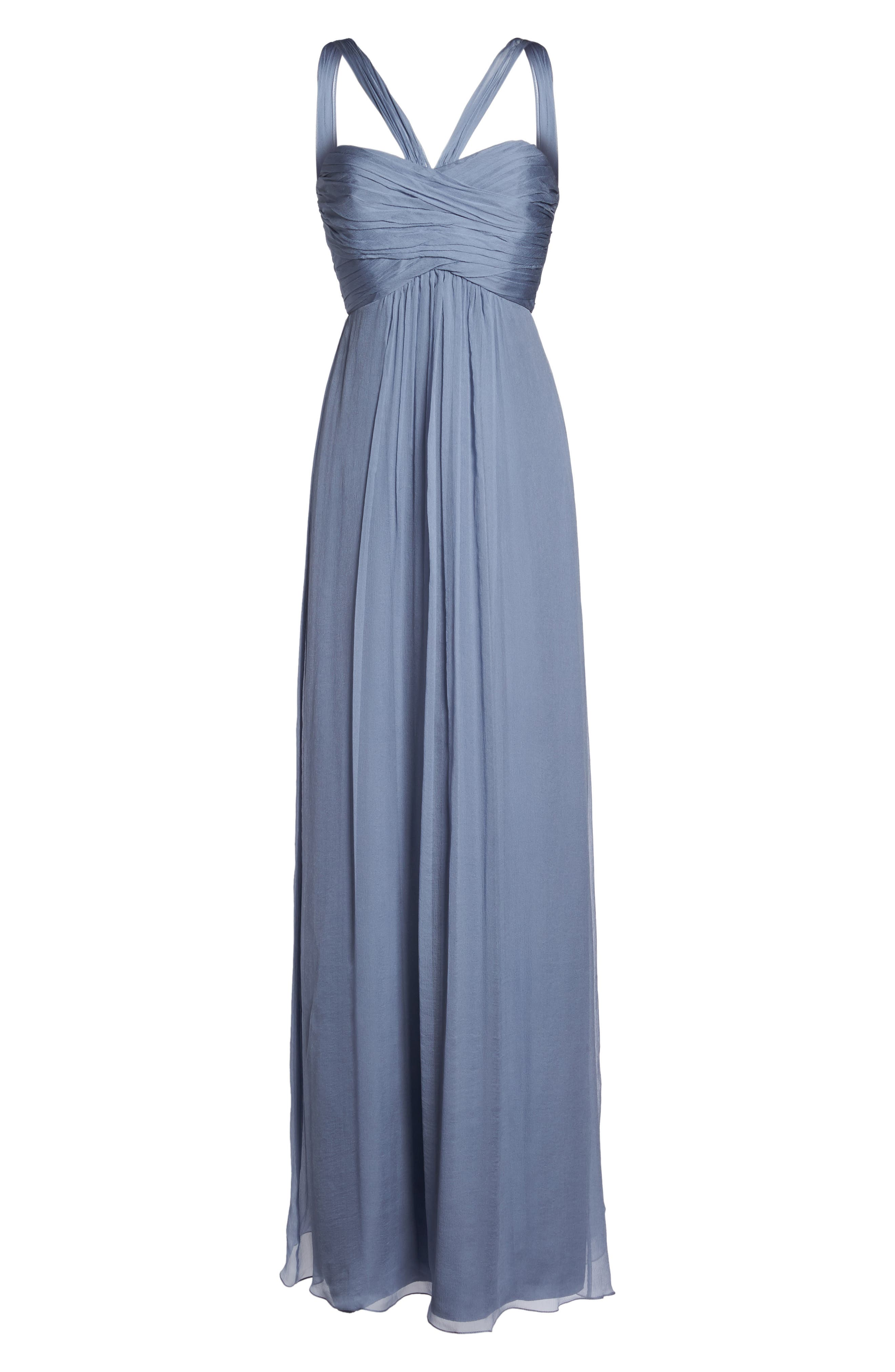 Corbin Crinkled Chiffon Empire Gown,                             Alternate thumbnail 6, color,                             020