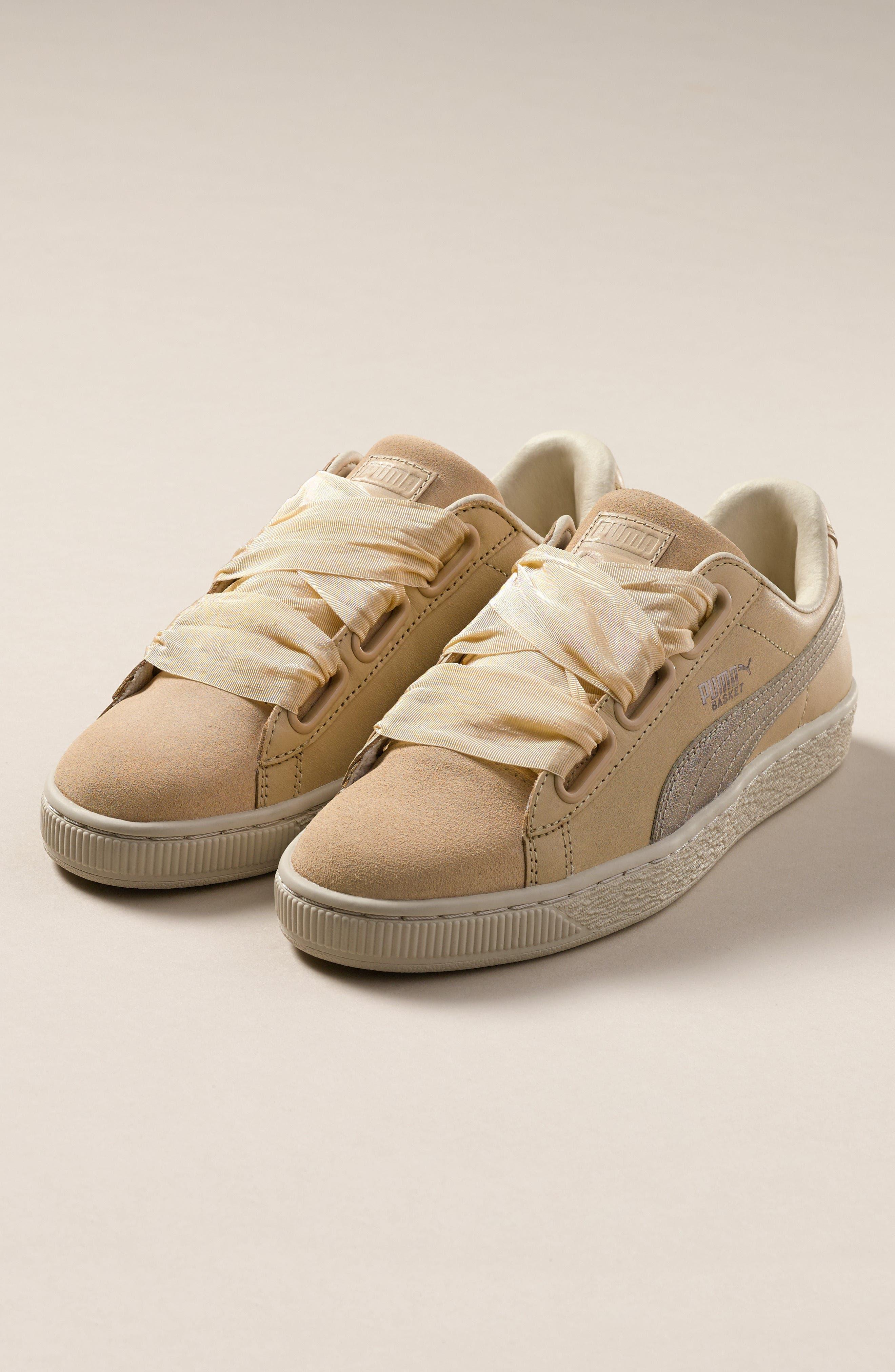 Basket Heart Sneaker,                             Alternate thumbnail 9, color,                             WHITE/ ROSE GOLD LEATHER