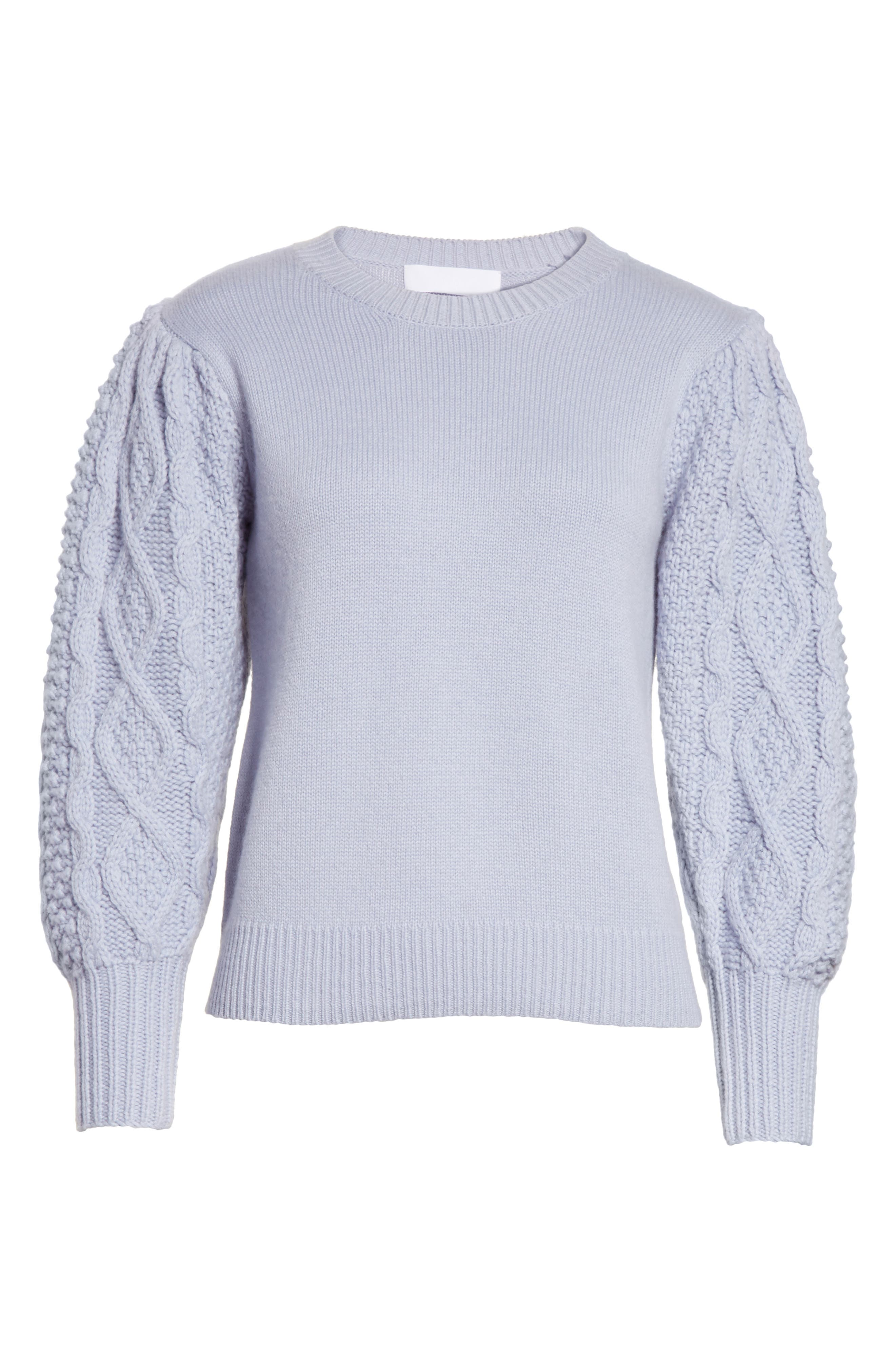 Puff Sleeve Wool & Cashmere Sweater,                             Alternate thumbnail 6, color,                             400