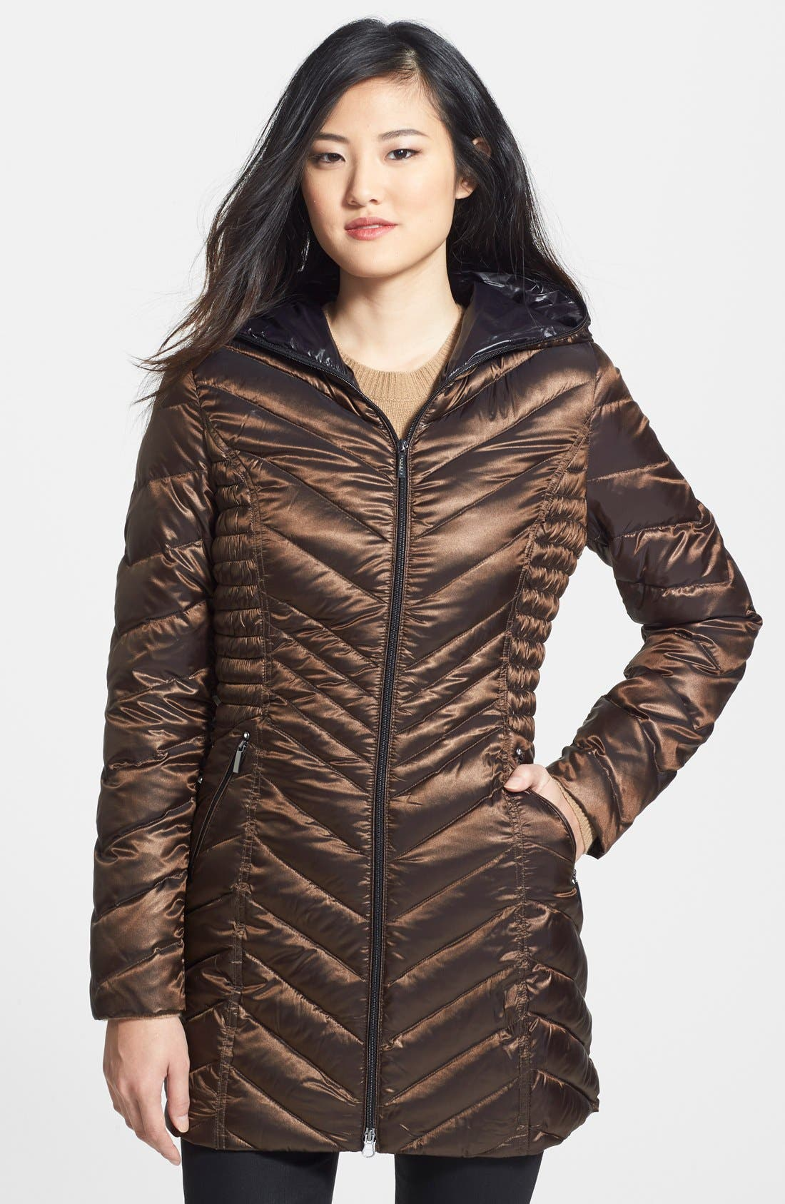 Hooded Packable Down Coat, Main, color, 201
