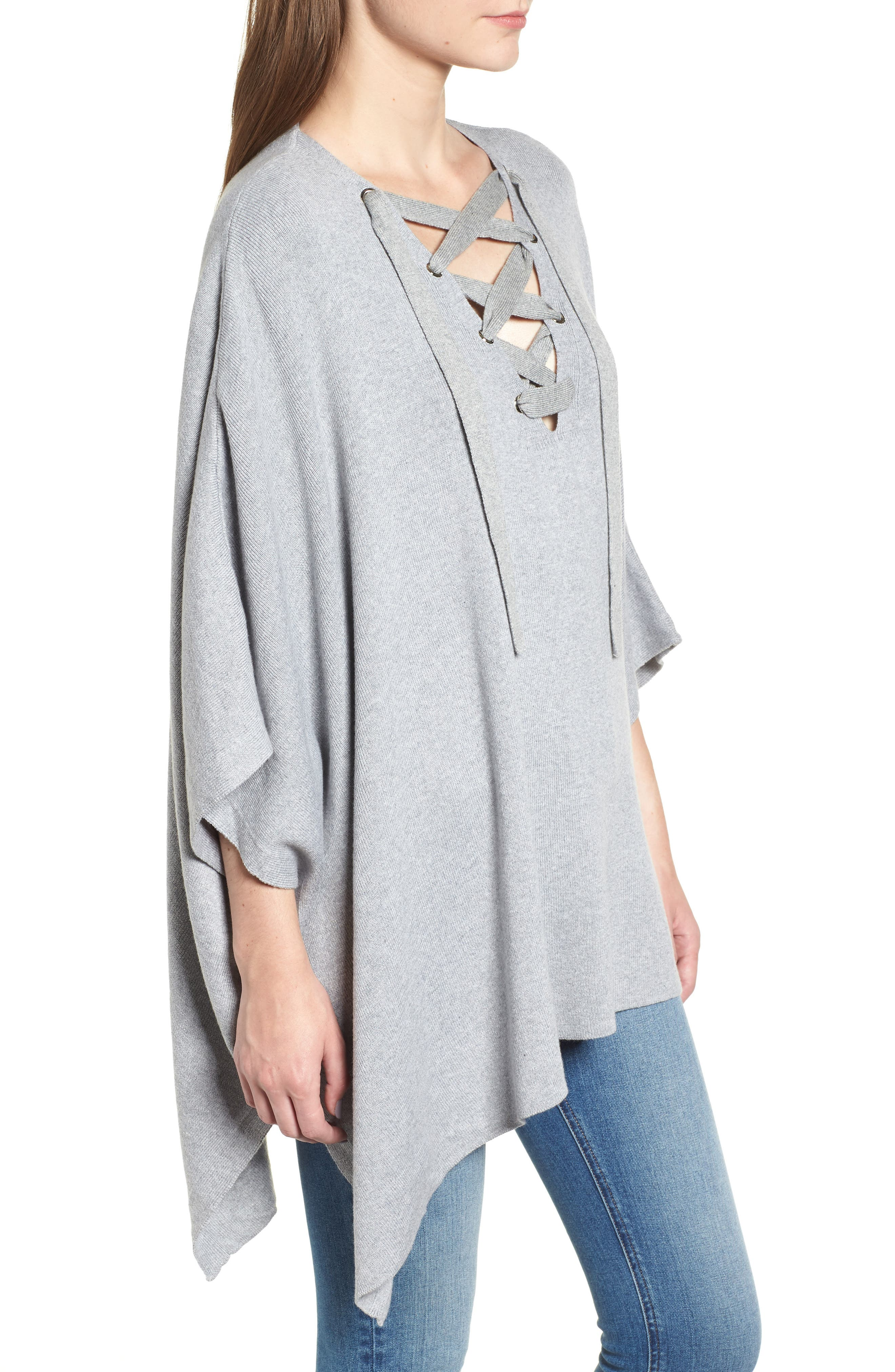 Bishop + Young Harper Lace-Up Poncho,                             Alternate thumbnail 3, color,                             035