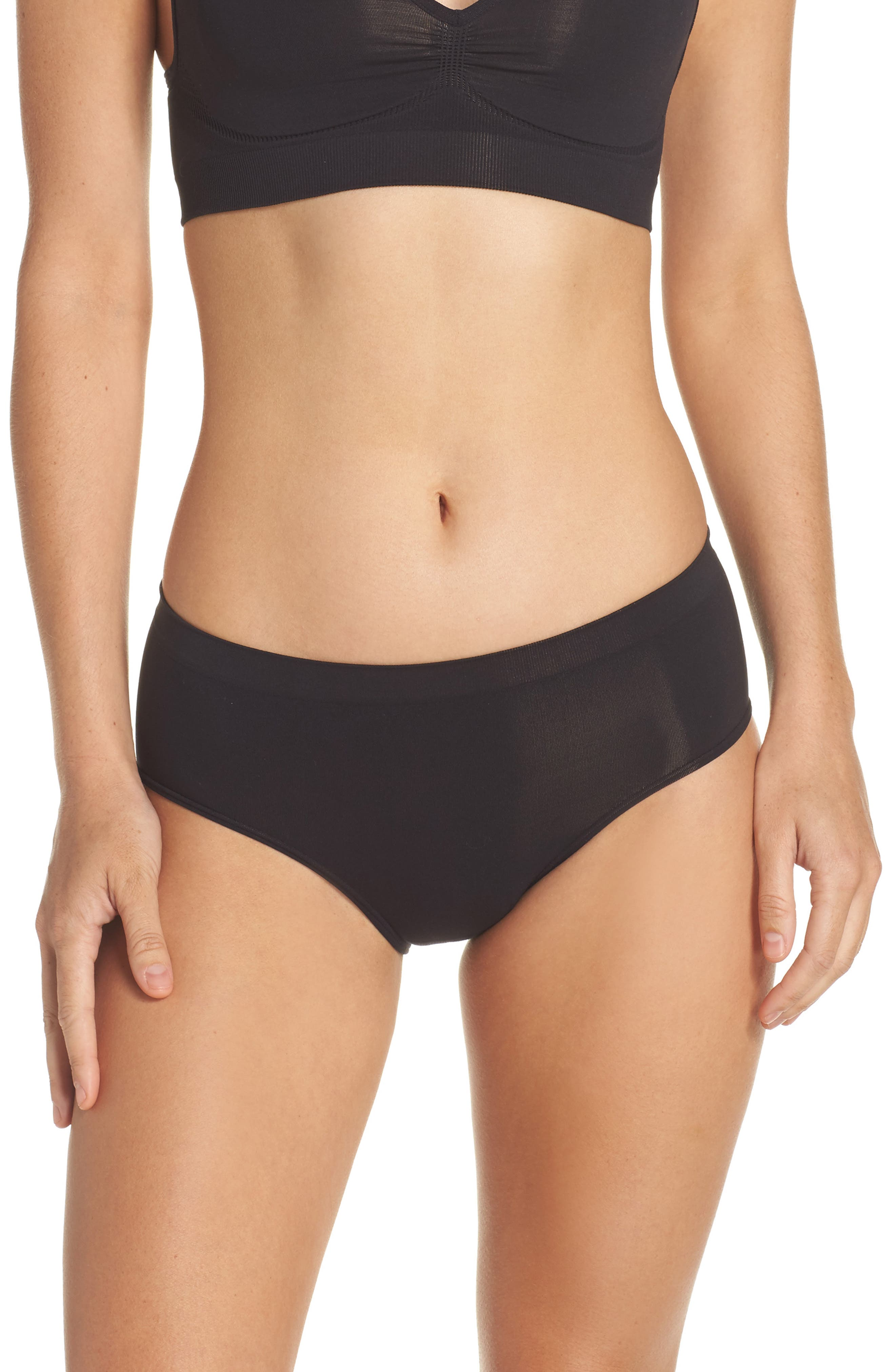HALOGEN<SUP>®</SUP>,                             Seamless Hipster Briefs,                             Main thumbnail 1, color,                             BLACK
