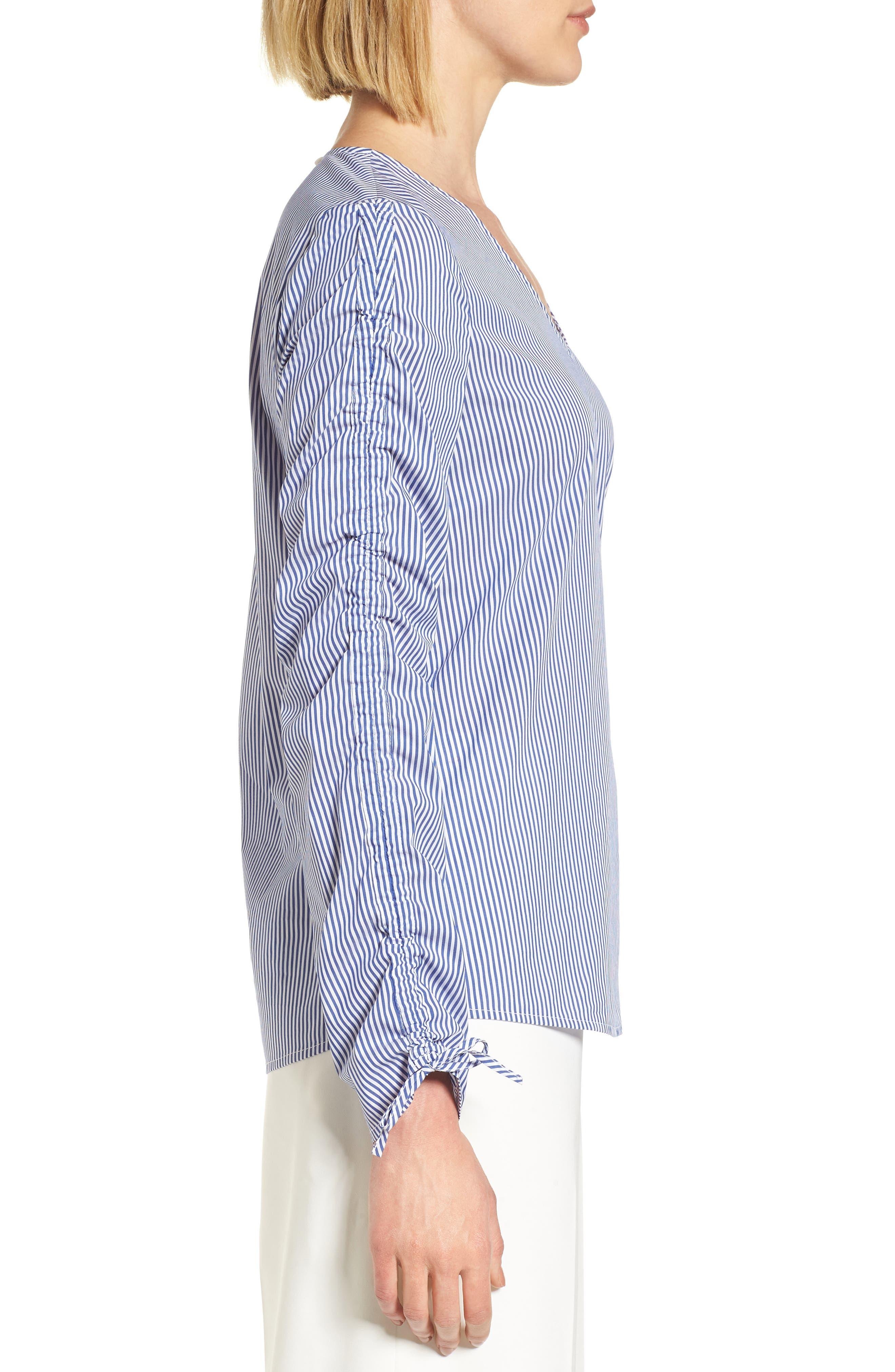 Cinch Sleeve V-Neck Top,                             Alternate thumbnail 6, color,