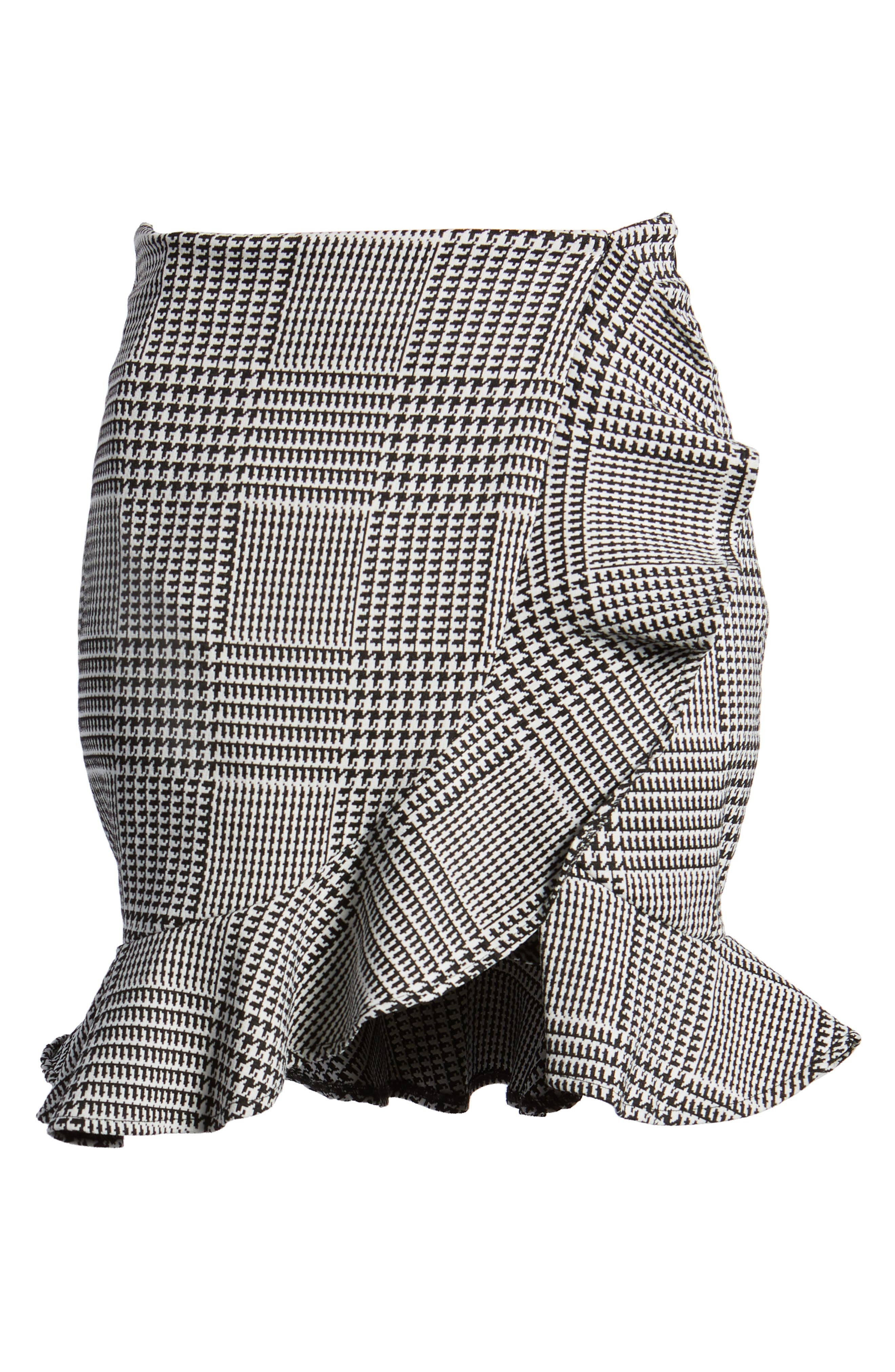 Affection Ruffle Houndstooth Skirt,                             Alternate thumbnail 6, color,                             020