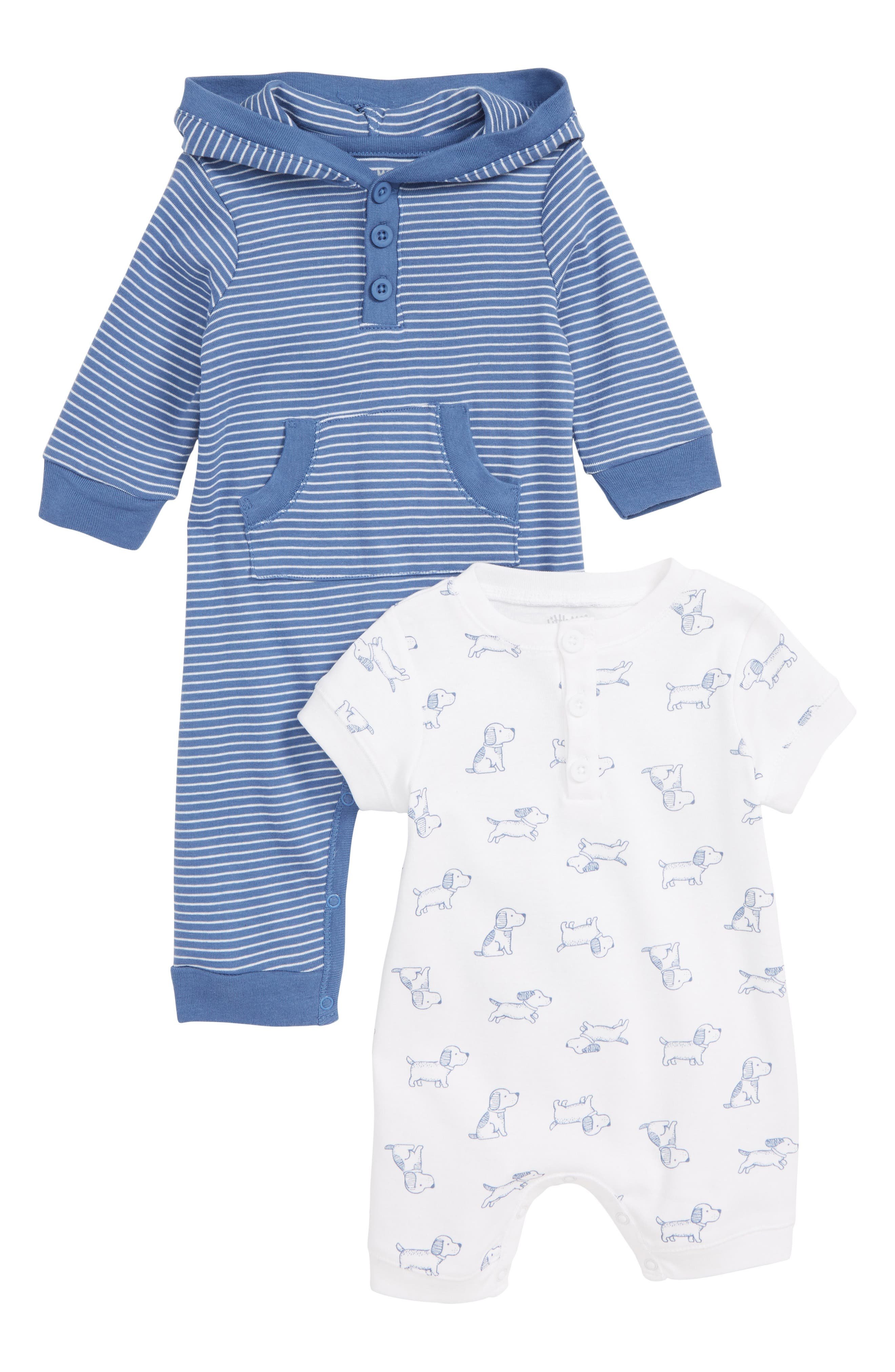 Hooded Romper & Puppy Romper Set, Main, color, BLUE