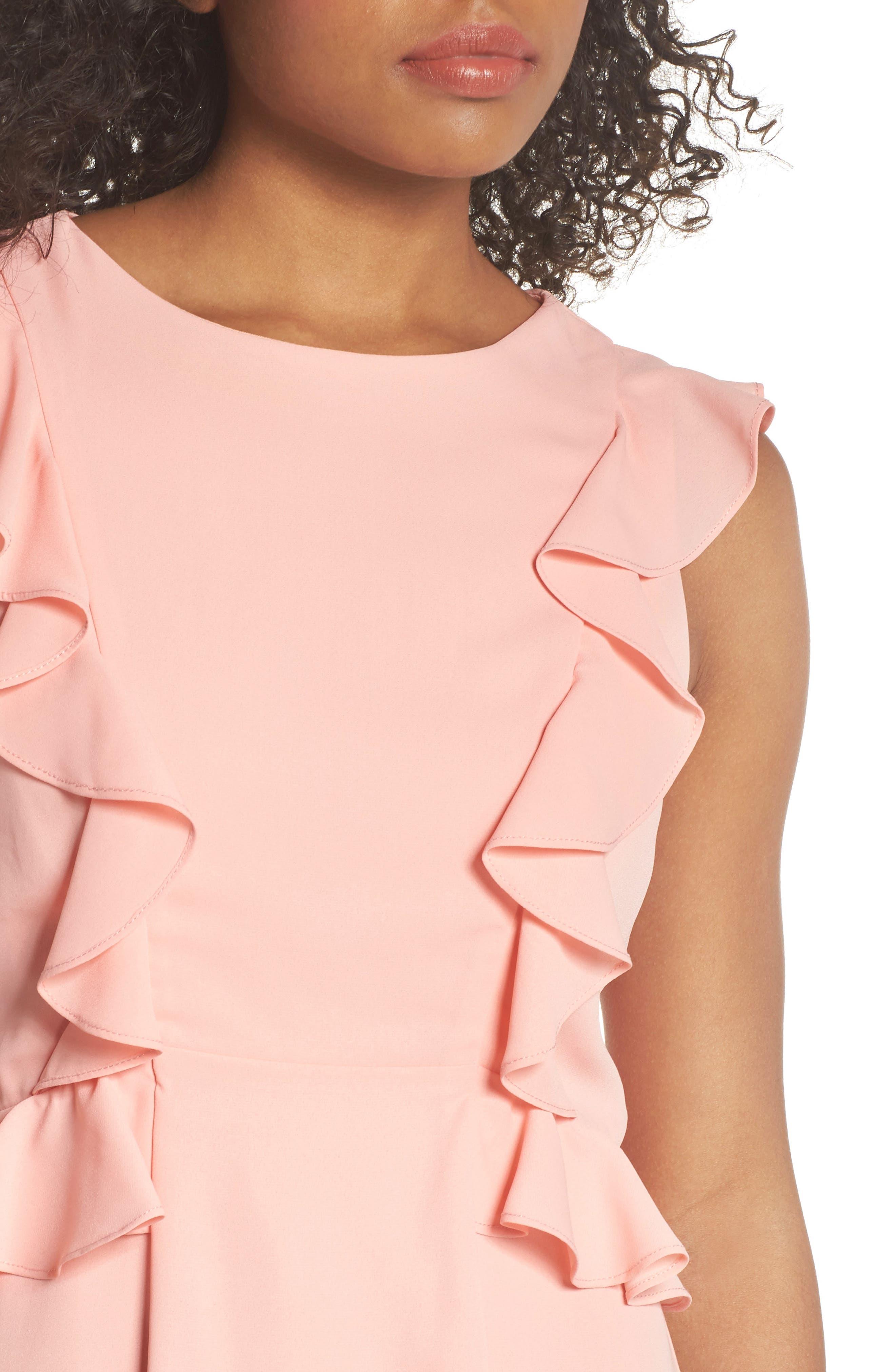 Lila Ruffle Trim Crepe Dress,                             Alternate thumbnail 4, color,                             650